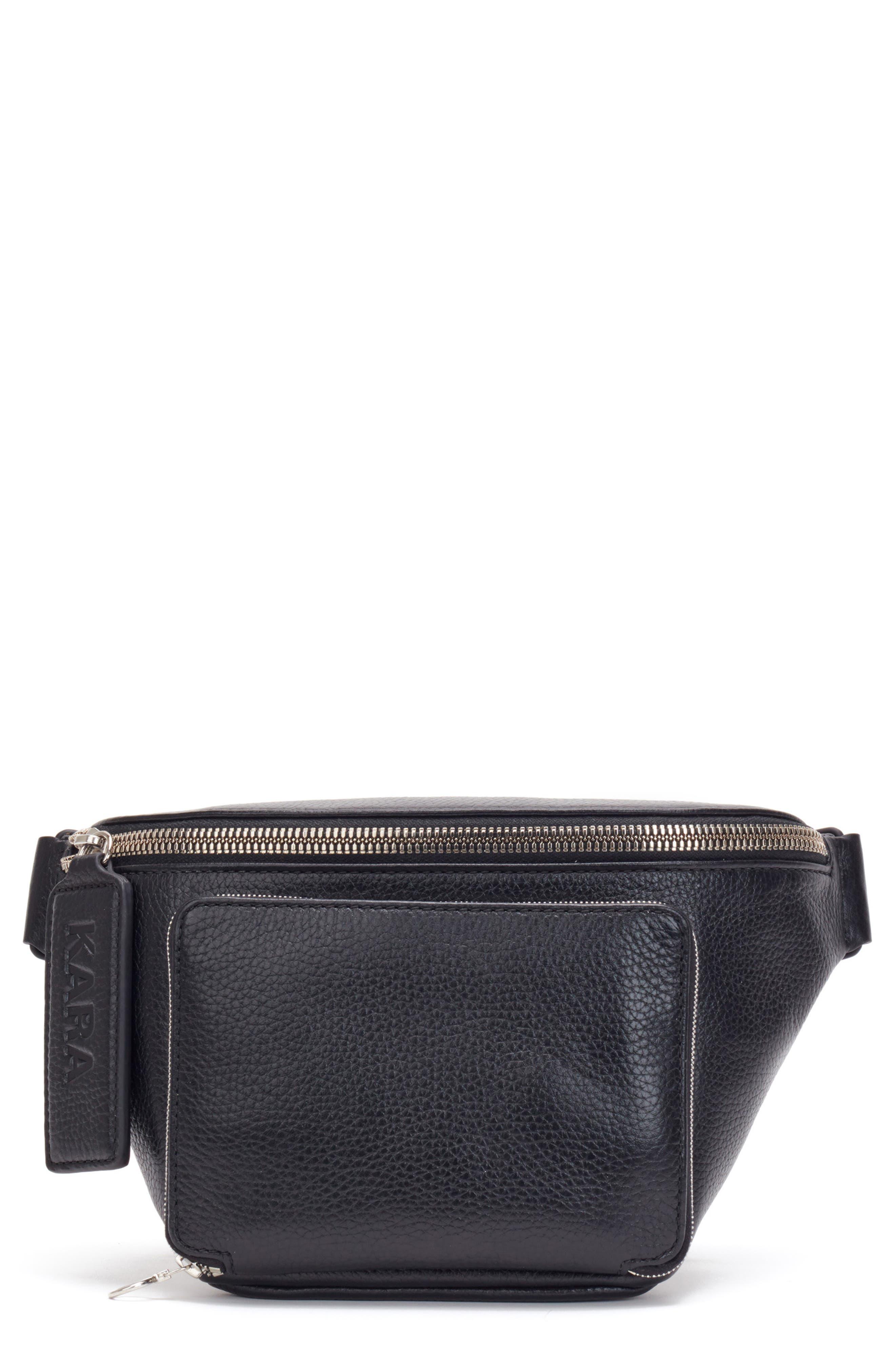 Large Leather Bum Bag,                         Main,                         color, BLACK