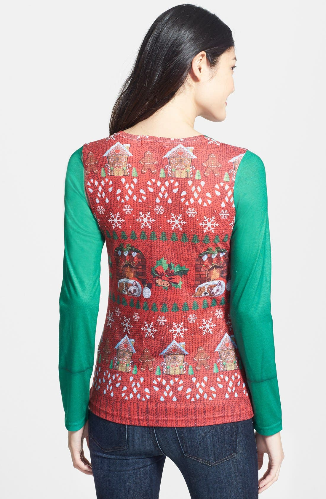 FAUX REAL,                             'Ugly Christmas Vest' Long Sleeve T-Shirt,                             Alternate thumbnail 3, color,                             600