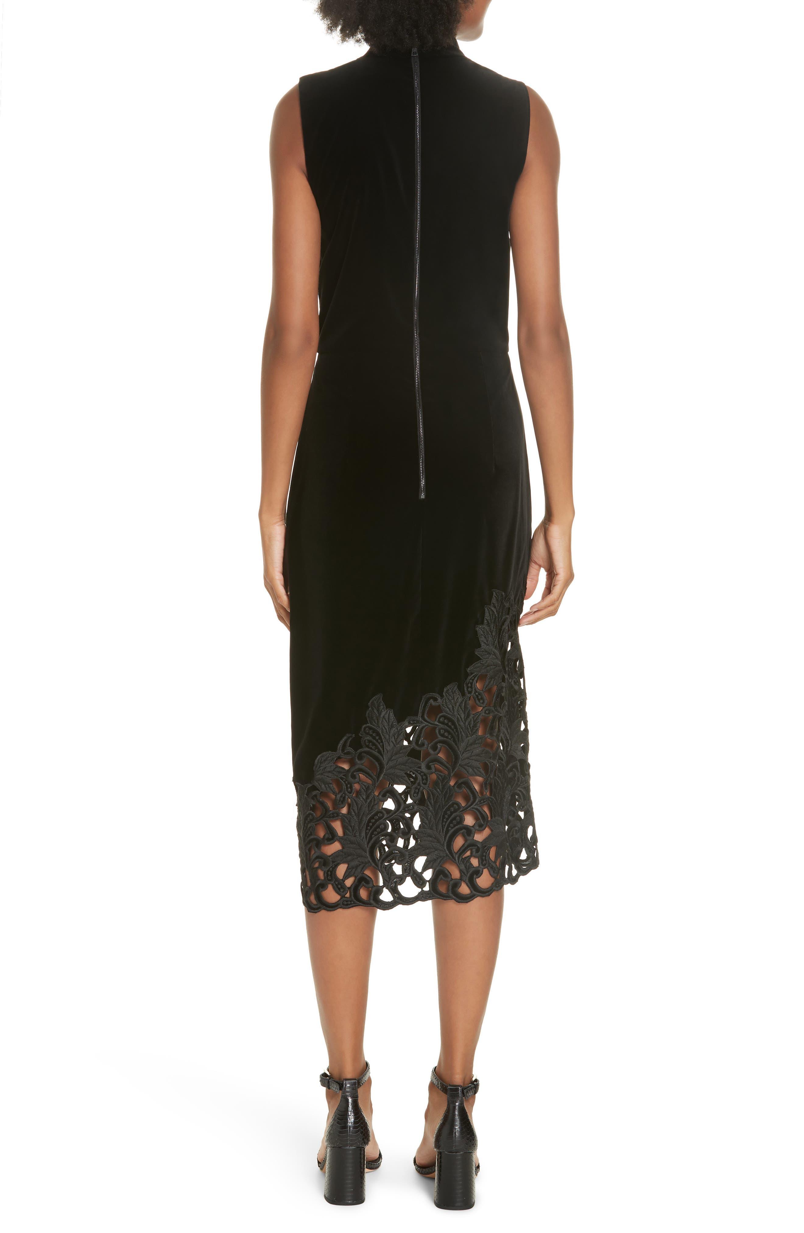 Kiana Velvet & Lace Midi Dress,                             Alternate thumbnail 2, color,                             001