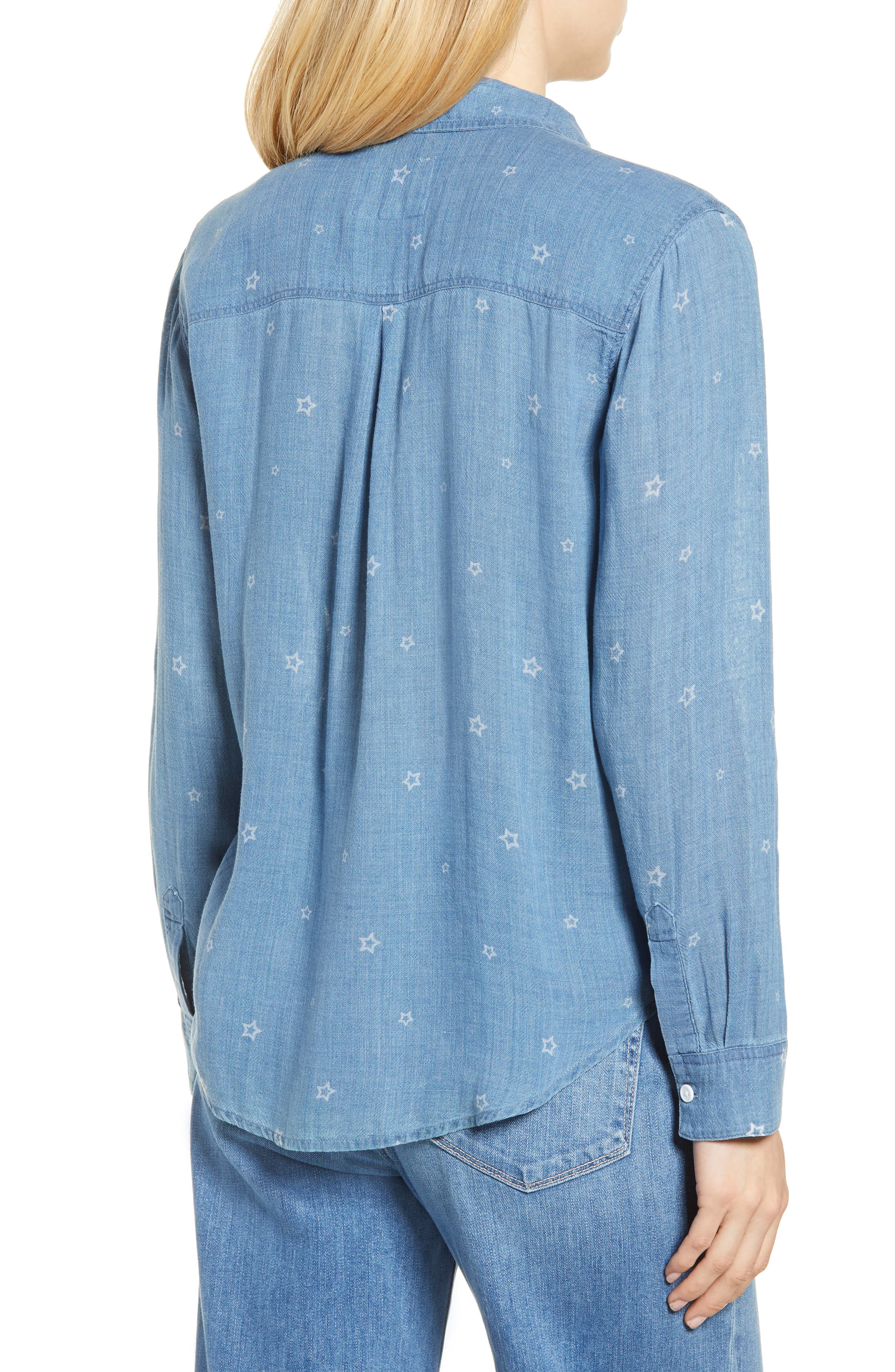 Ingrid Chambray Shirt,                             Alternate thumbnail 2, color,                             INDIGO STARS