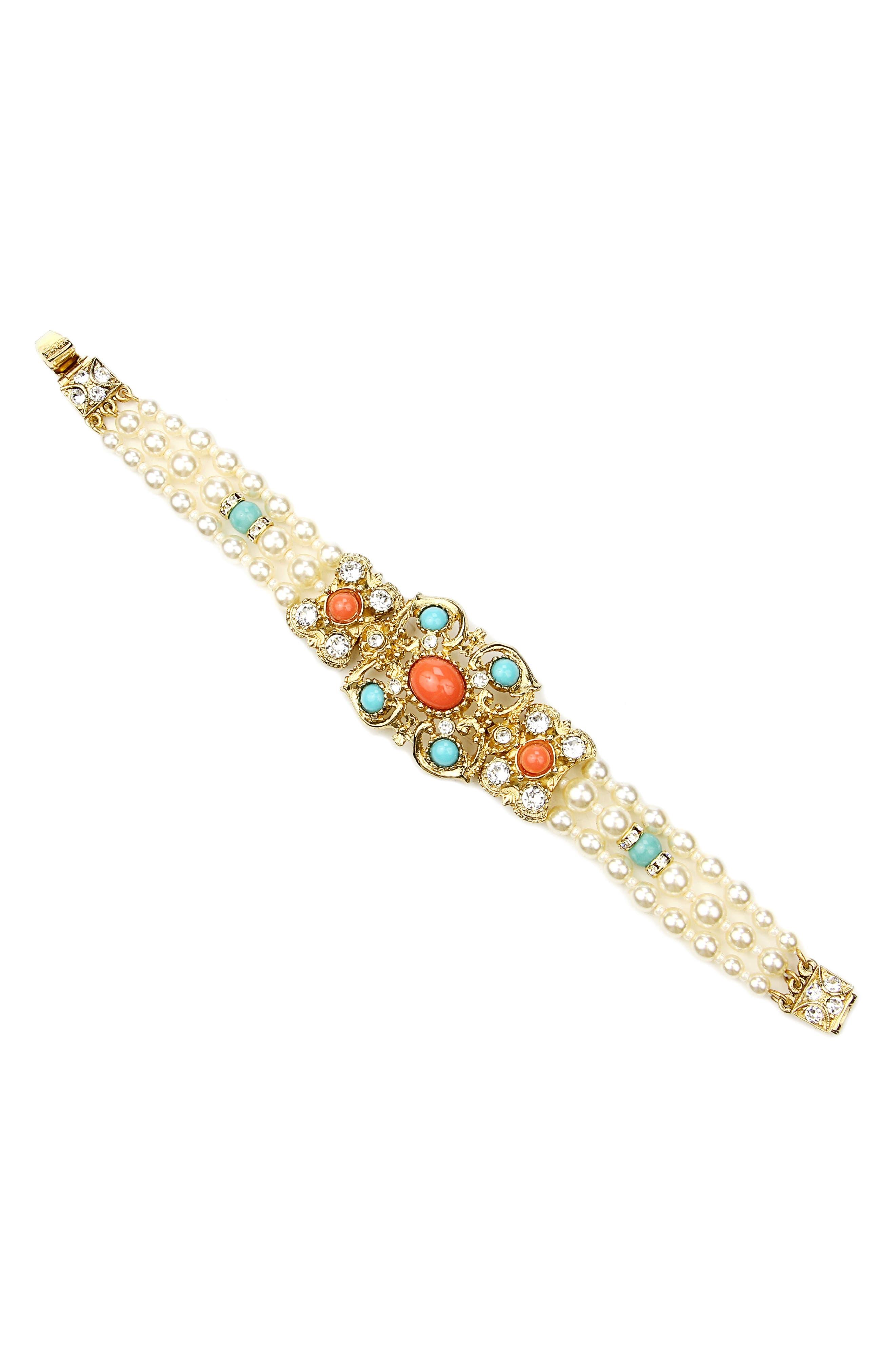 Faux Pearl Station Bracelet,                         Main,                         color, 710