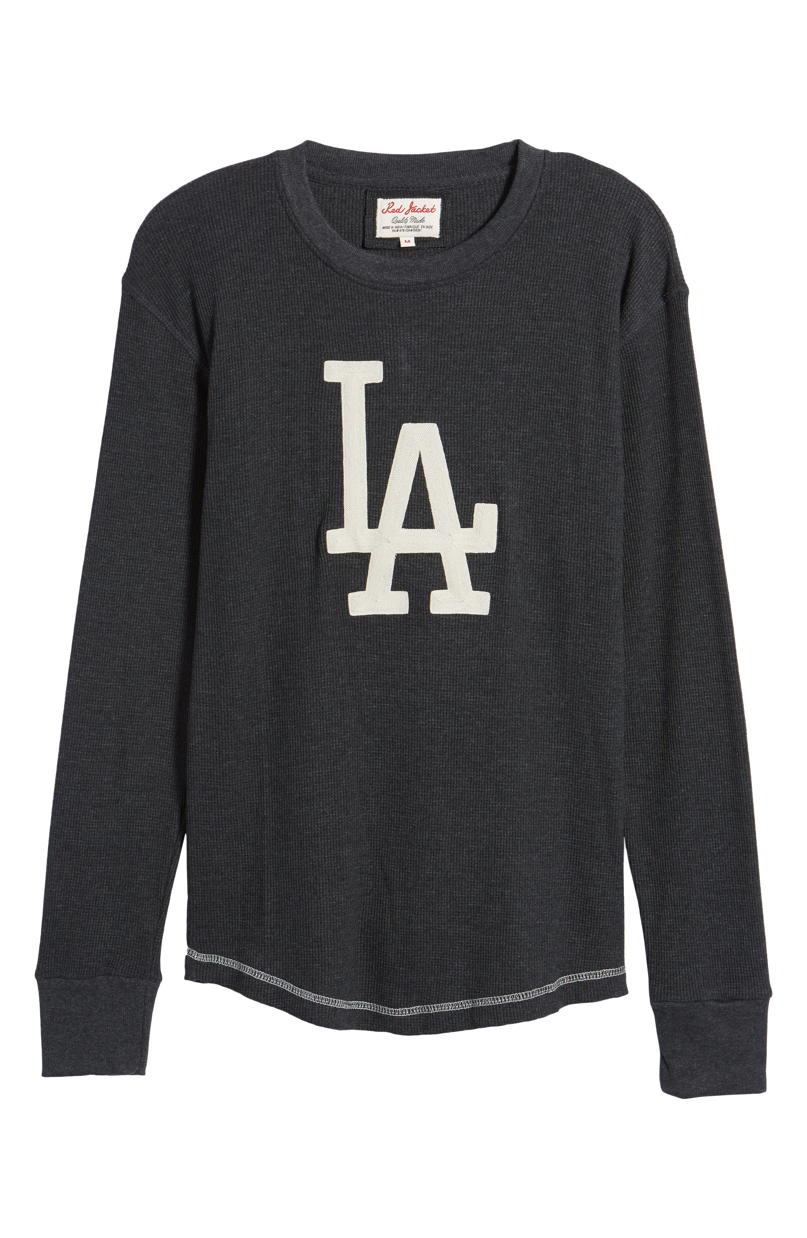 AMERICAN NEEDLE,                             Los Angeles Dodgers Embroidered Long Sleeve Thermal Shirt,                             Alternate thumbnail 6, color,                             001