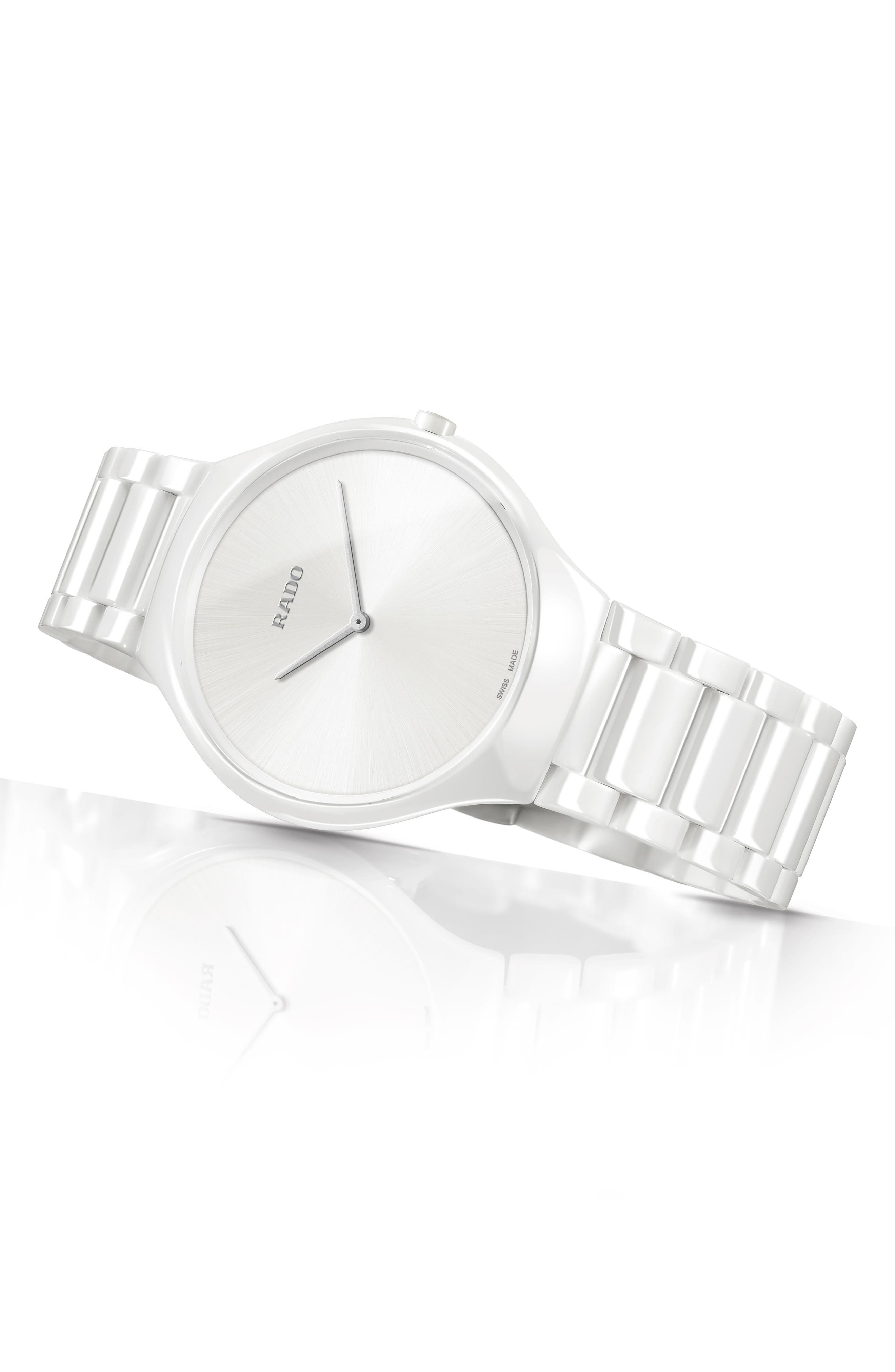 True Thinline Ceramic Bracelet Watch, 39mm,                             Alternate thumbnail 2, color,                             WHITE