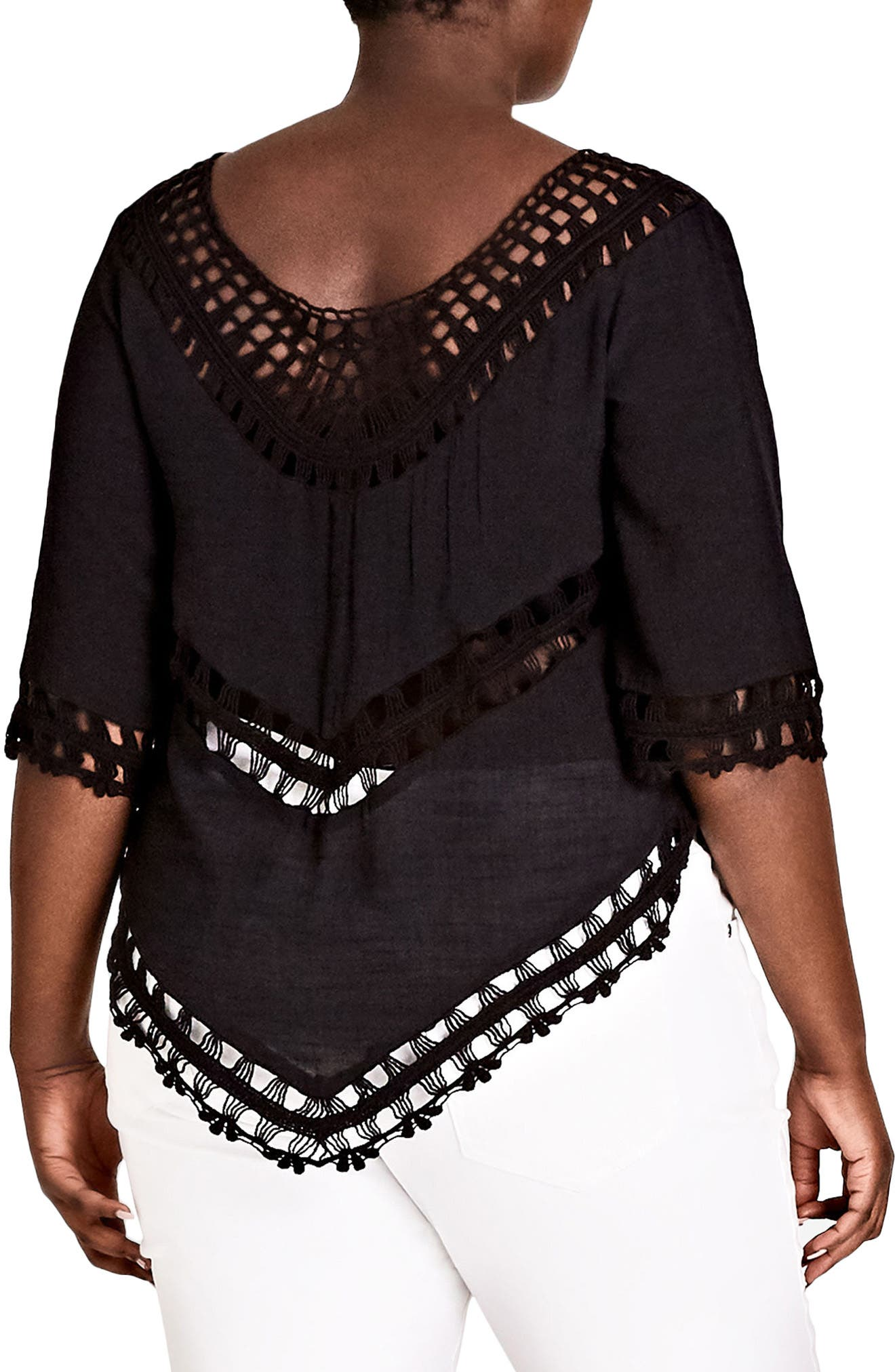 Sweet Vibe Crochet Top,                             Alternate thumbnail 2, color,                             BLACK