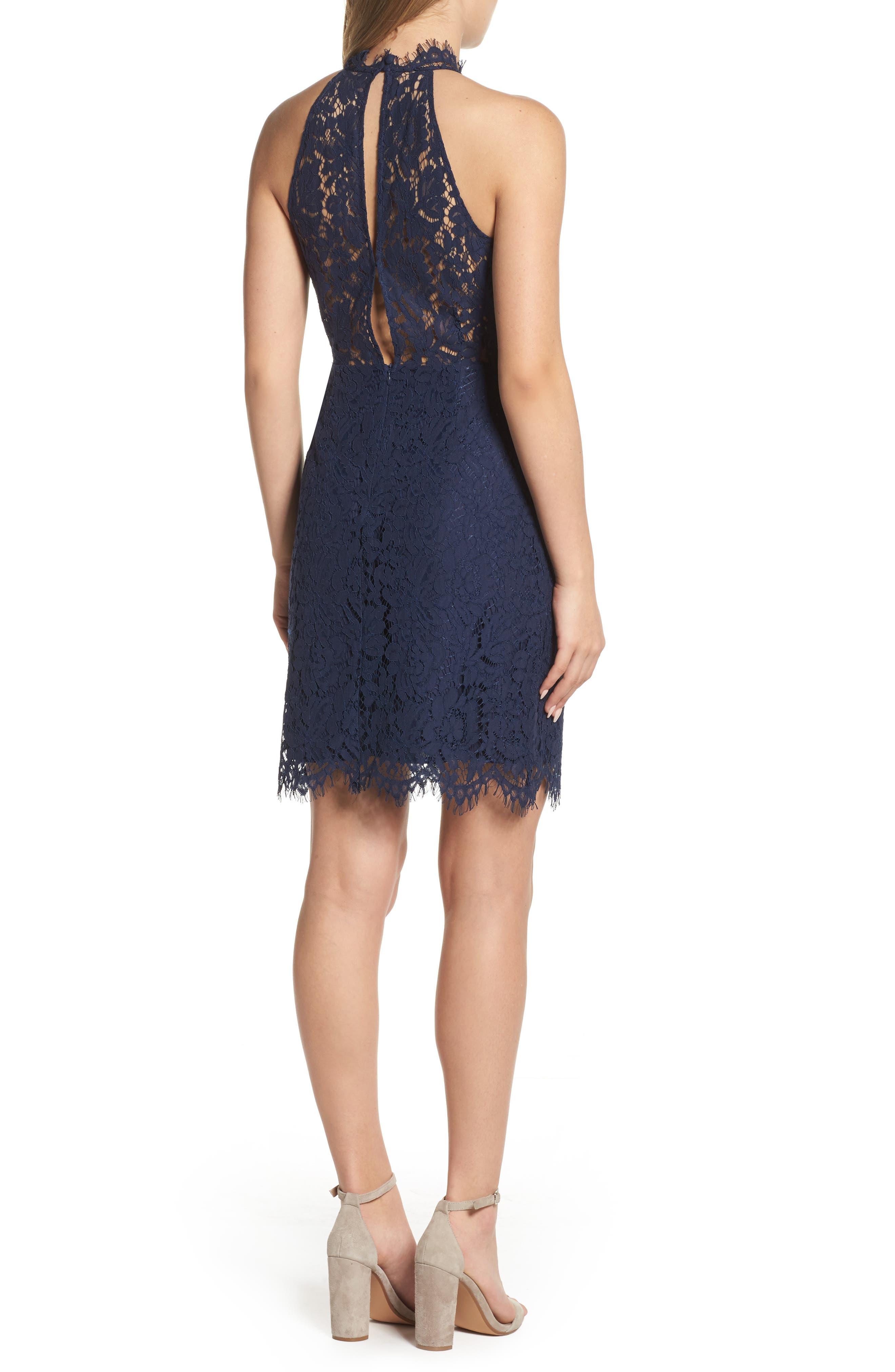 'Cara' High Neck Lace Dress,                             Alternate thumbnail 2, color,                             NAVY