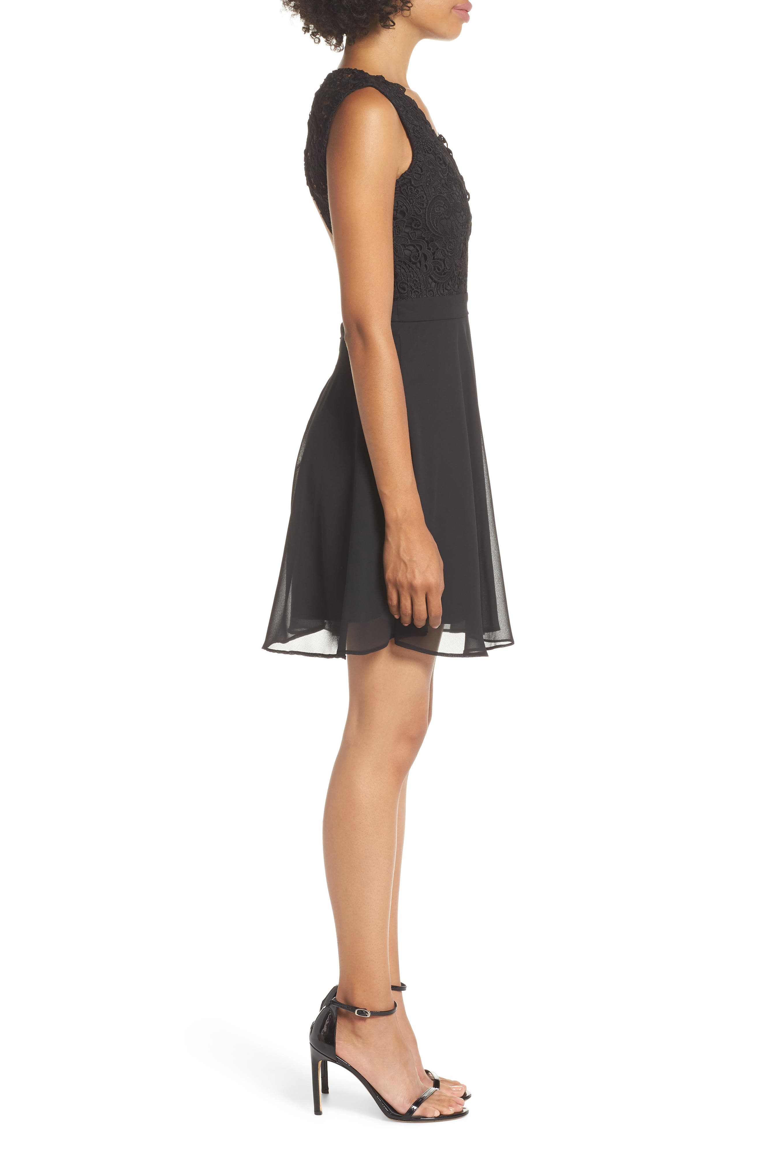 Lace & Chiffon Skater Dress,                             Alternate thumbnail 3, color,                             BLACK