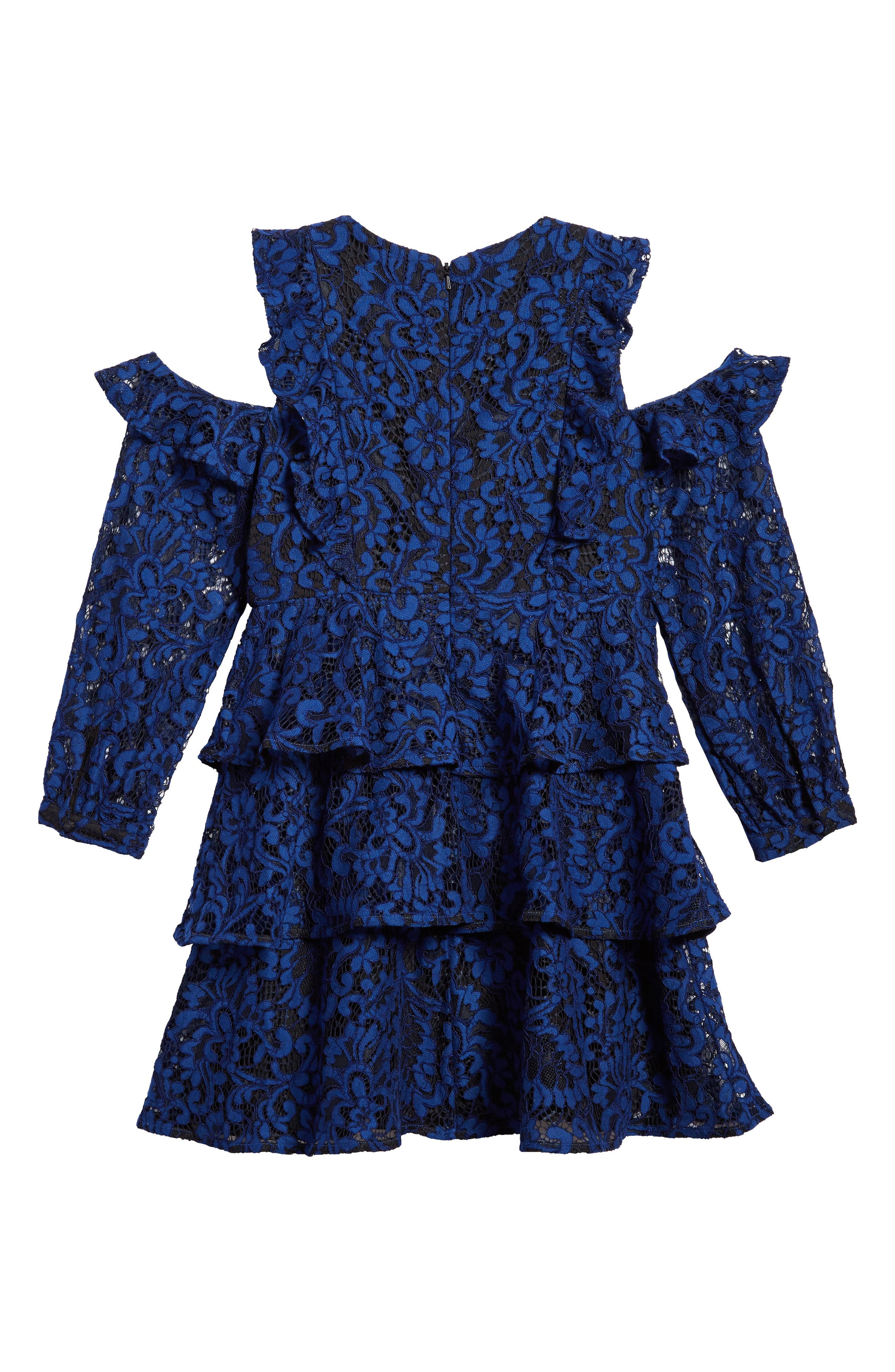 Ruffle Lace Cold Shoulder Dress,                             Alternate thumbnail 2, color,
