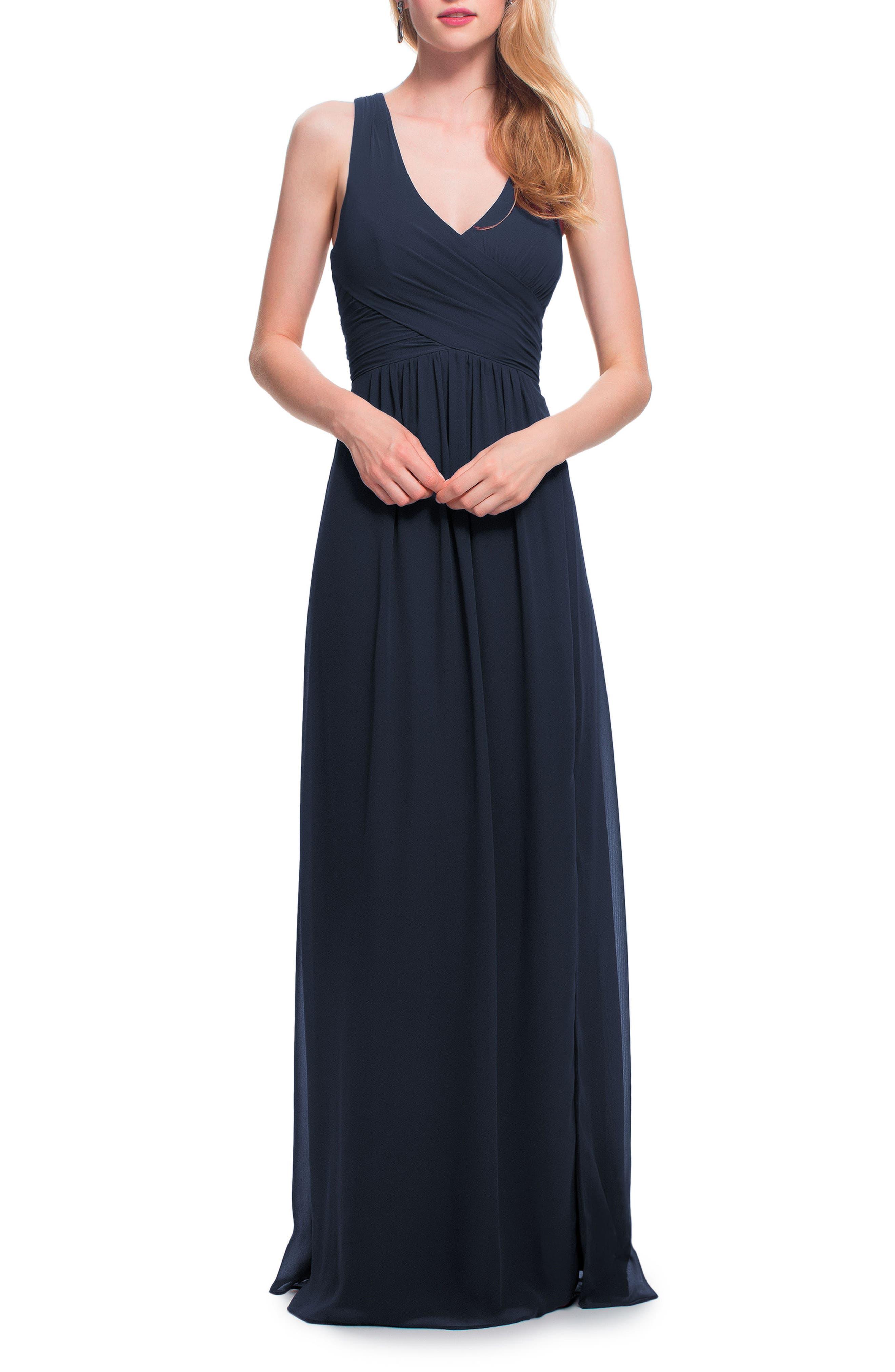 Back Cutout Chiffon Gown,                         Main,                         color, NAVY