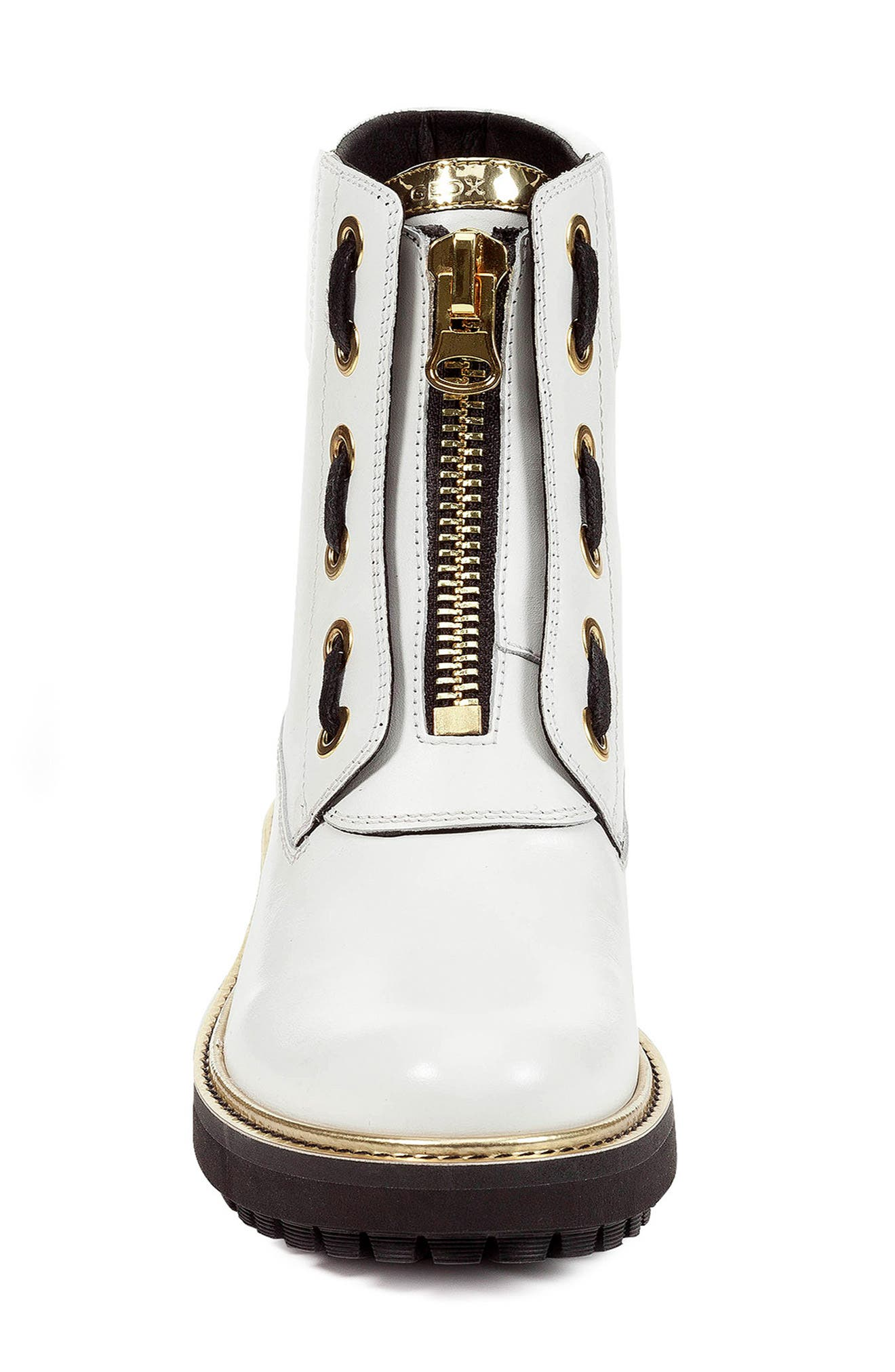 GEOX,                             Asheely Bootie,                             Alternate thumbnail 4, color,                             WHITE LEATHER