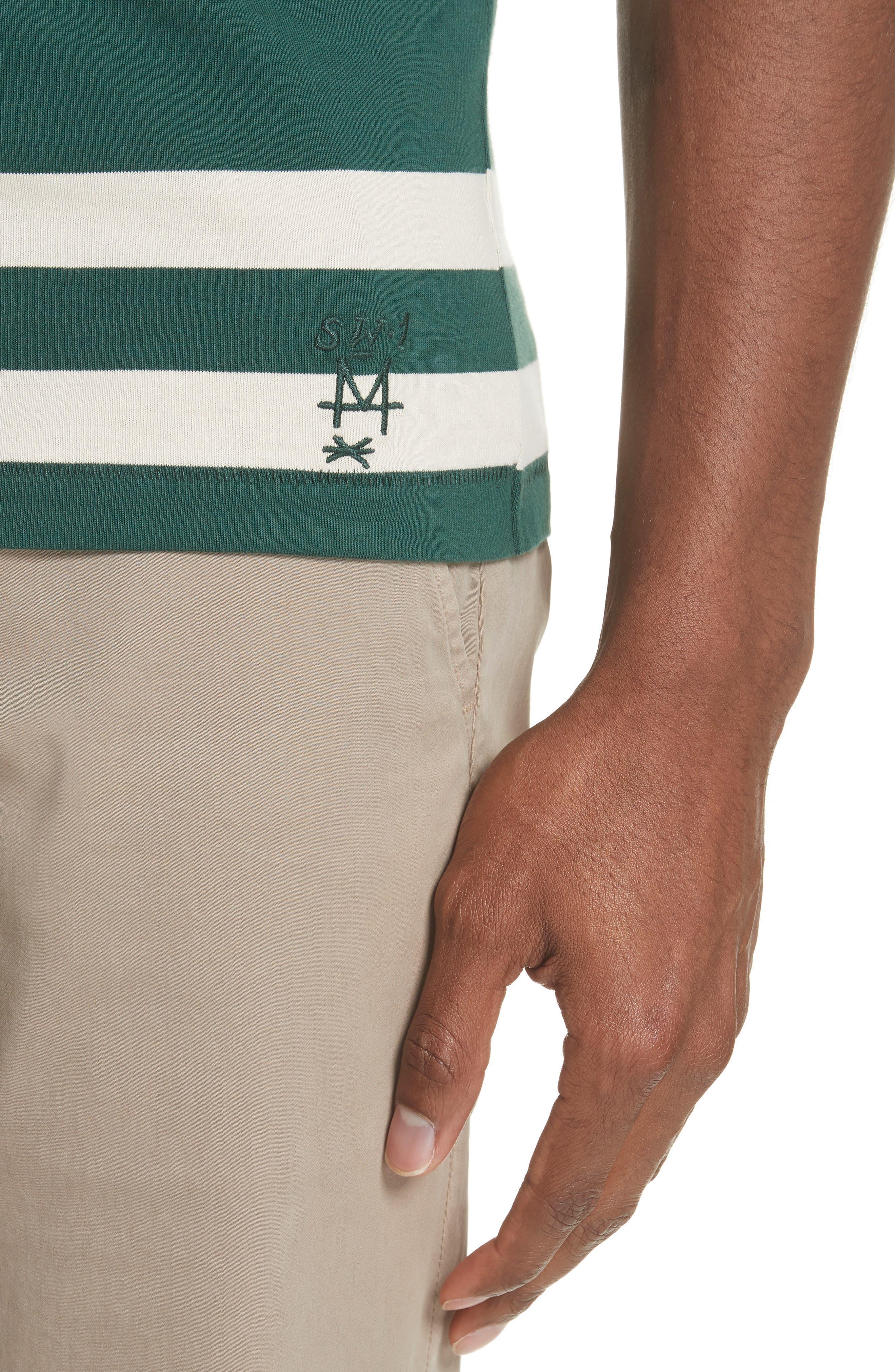 Crawley Stripe T-Shirt,                             Alternate thumbnail 4, color,                             OFF WHITE/ PINE GREEN