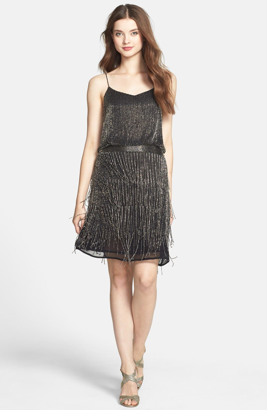 Beaded Fringe Blouson Dress,                             Alternate thumbnail 10, color,                             017
