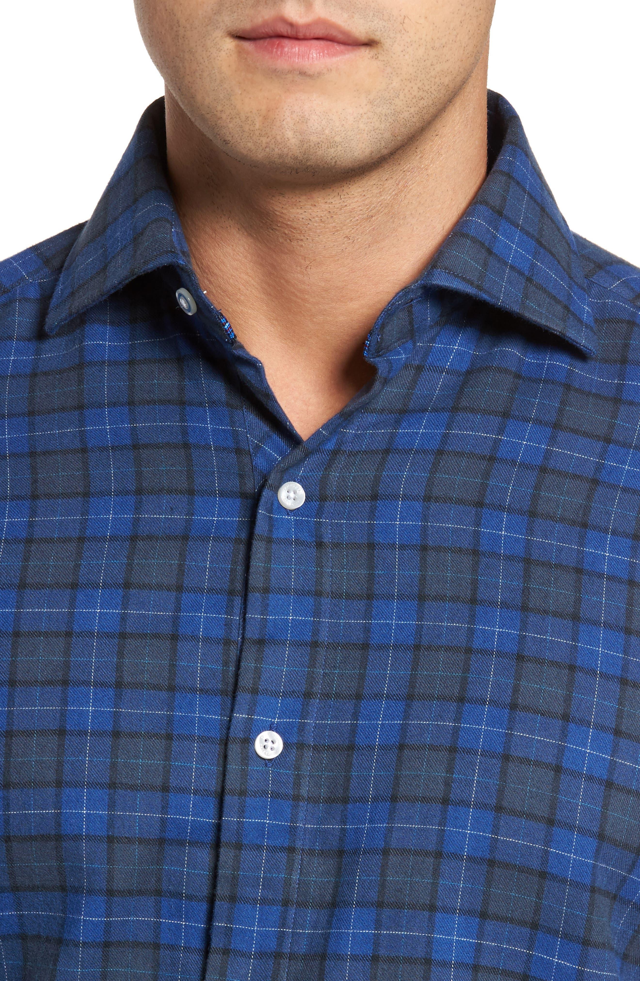 Cankton Plaid Sport Shirt,                             Alternate thumbnail 4, color,                             400