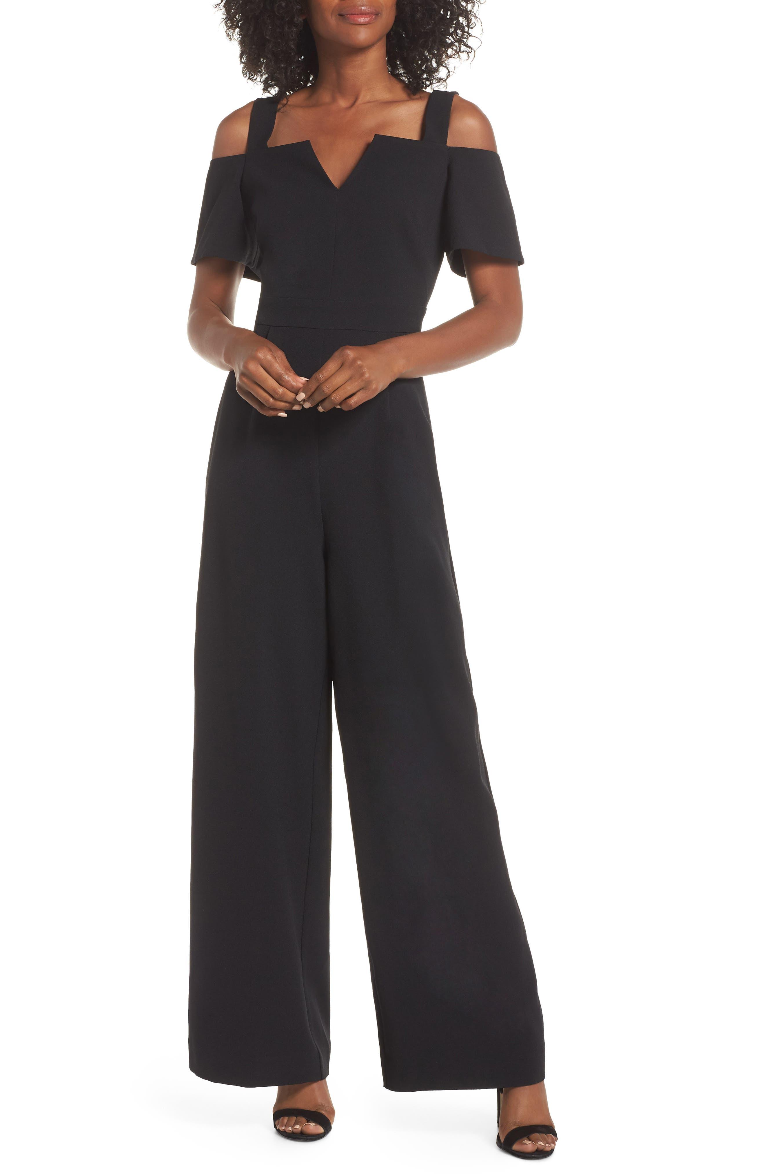 Cold Shoulder V-Neck Jumpsuit,                         Main,                         color, BLACK
