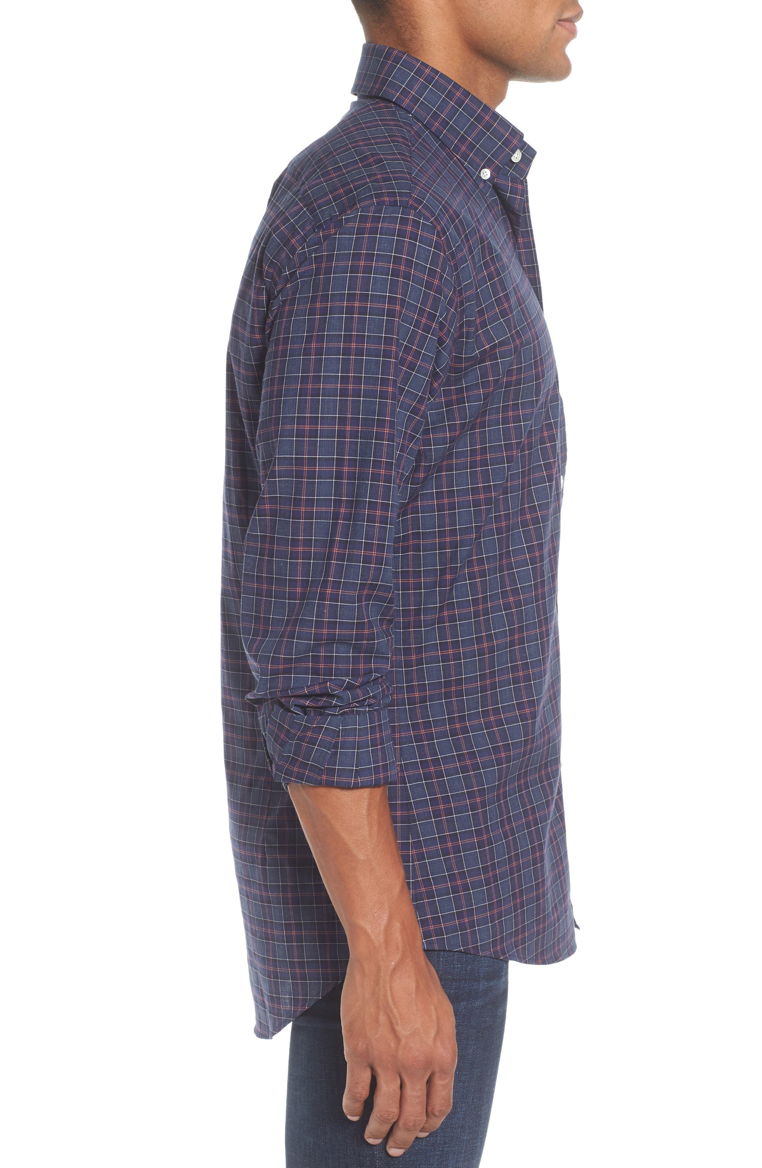Slim Fit Plaid Sport Shirt,                             Alternate thumbnail 3, color,