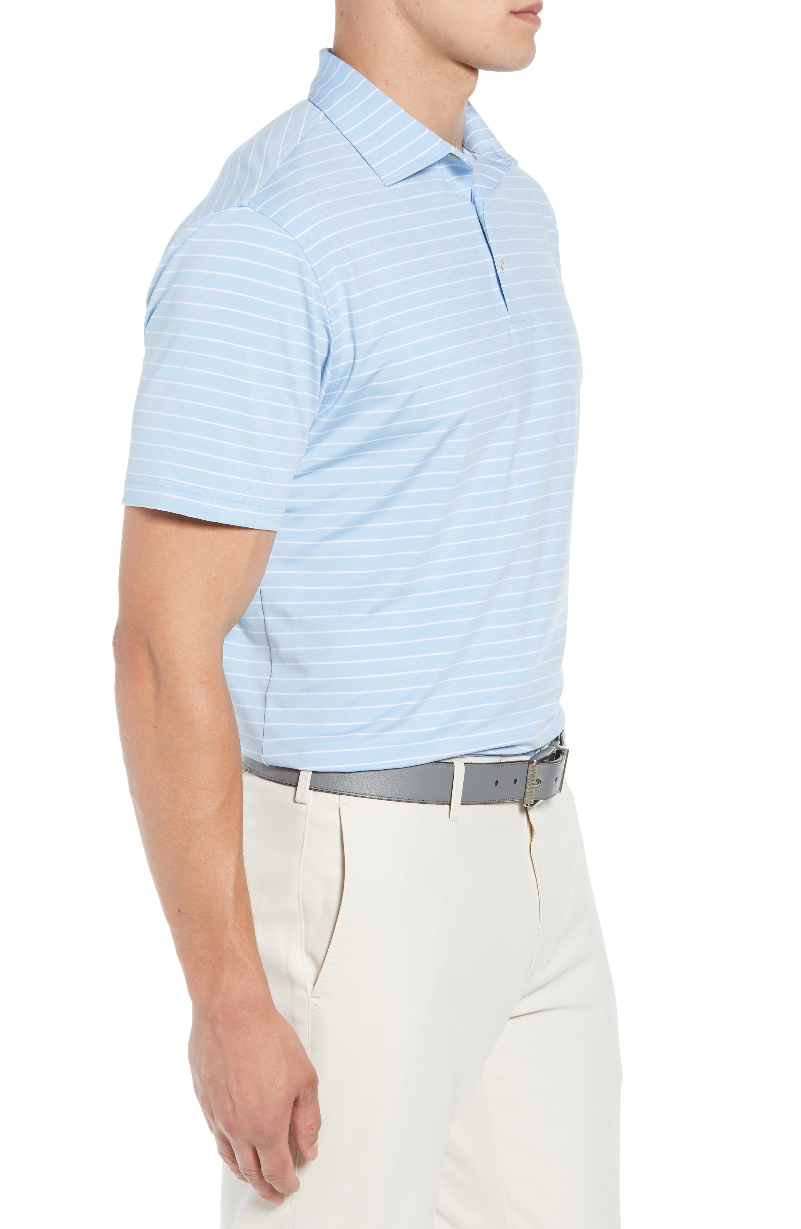 Halifax Stripe Stretch Jersey Polo,                             Alternate thumbnail 3, color,                             COTTAGE BLUE
