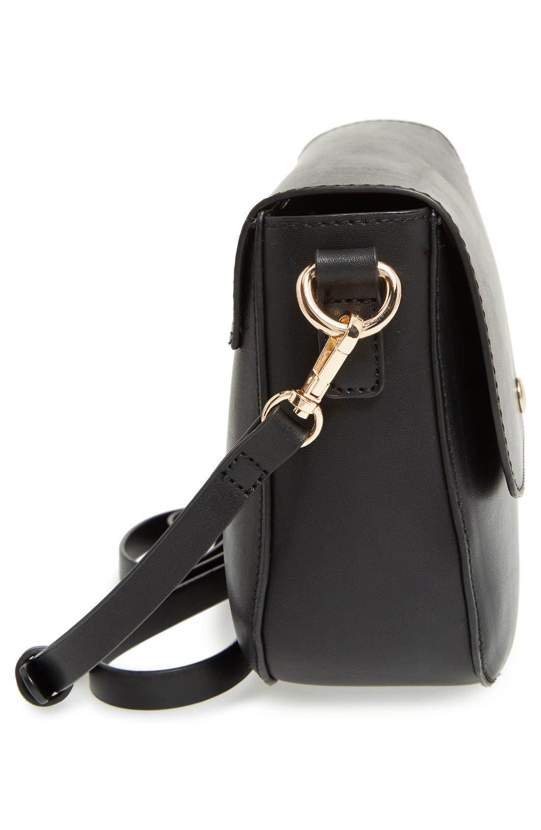 Minimal Faux Leather Crossbody Bag,                             Alternate thumbnail 3, color,                             001