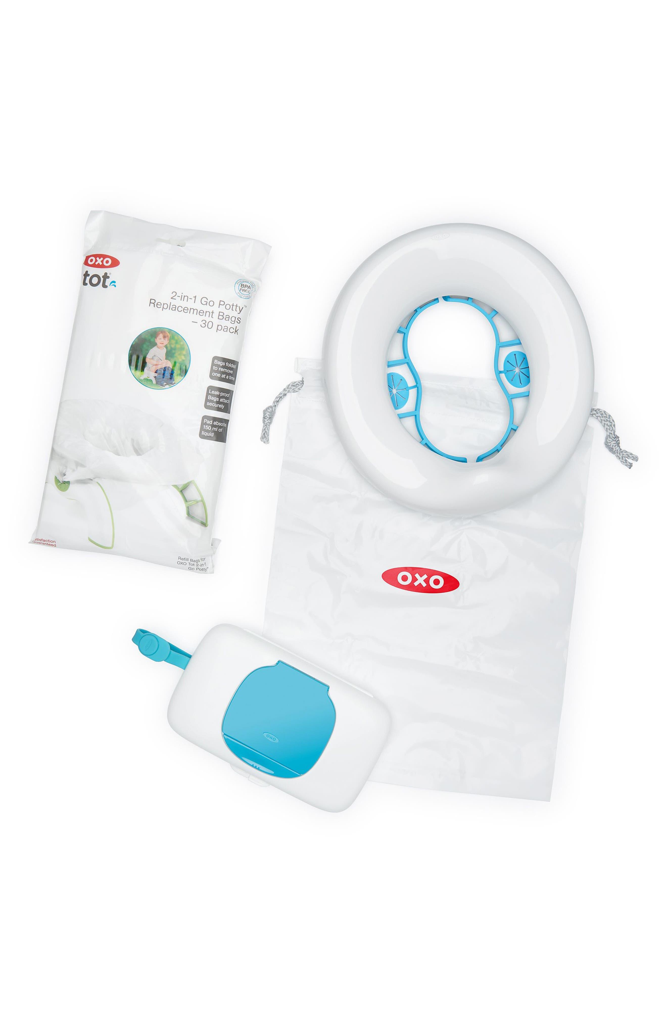 2-in-1 Go Potty Portable Toilet Set & Travel Bag,                         Main,                         color, AQUA