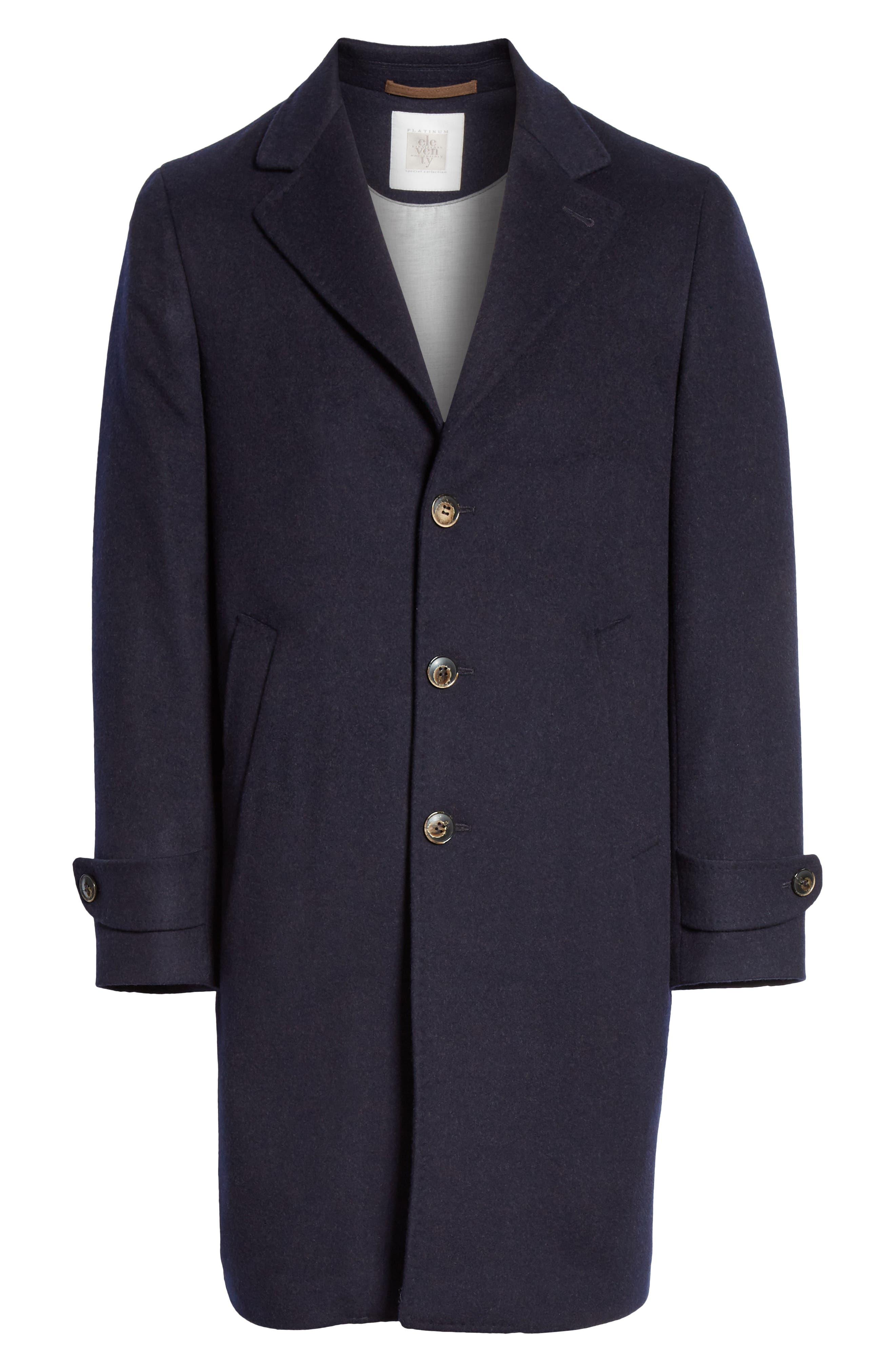 Trim Fit Wool & Cashmere Car Coat,                             Alternate thumbnail 5, color,                             NAVY