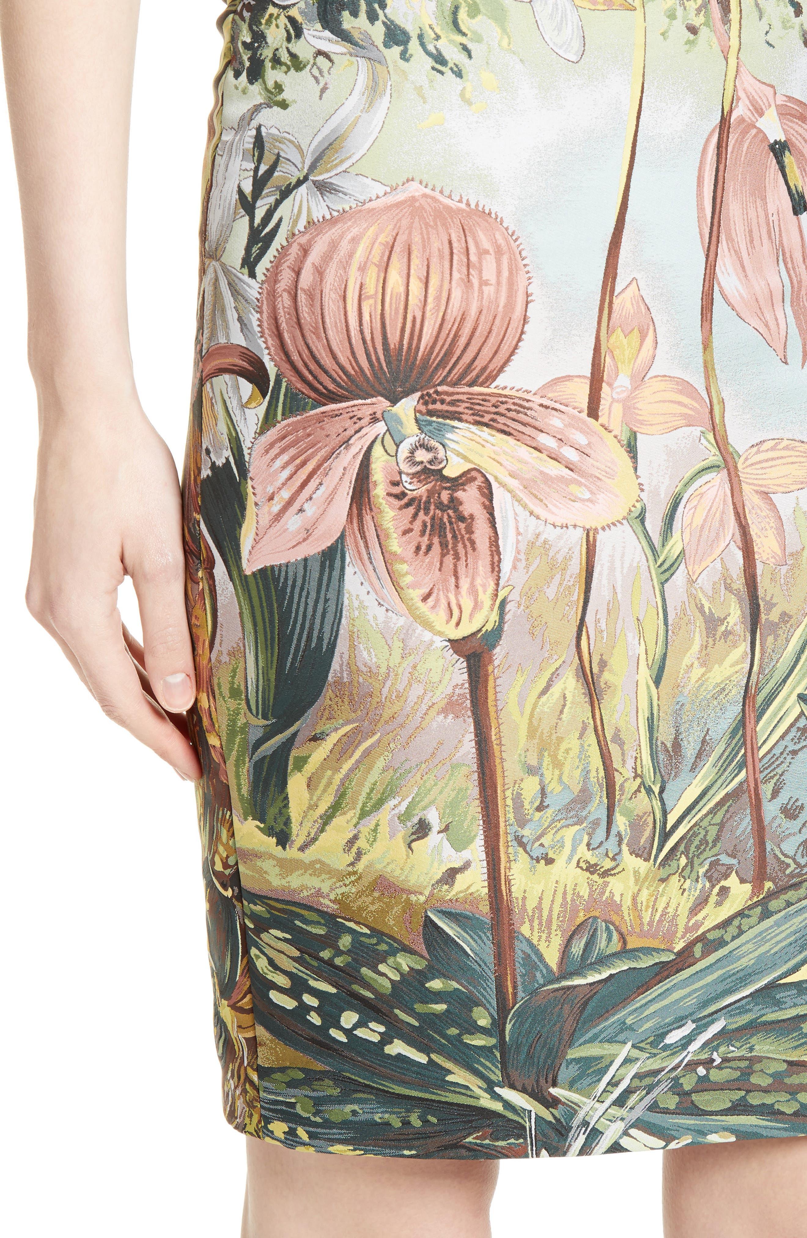 Orchid Print Jacquard Pencil Skirt,                             Alternate thumbnail 4, color,                             650