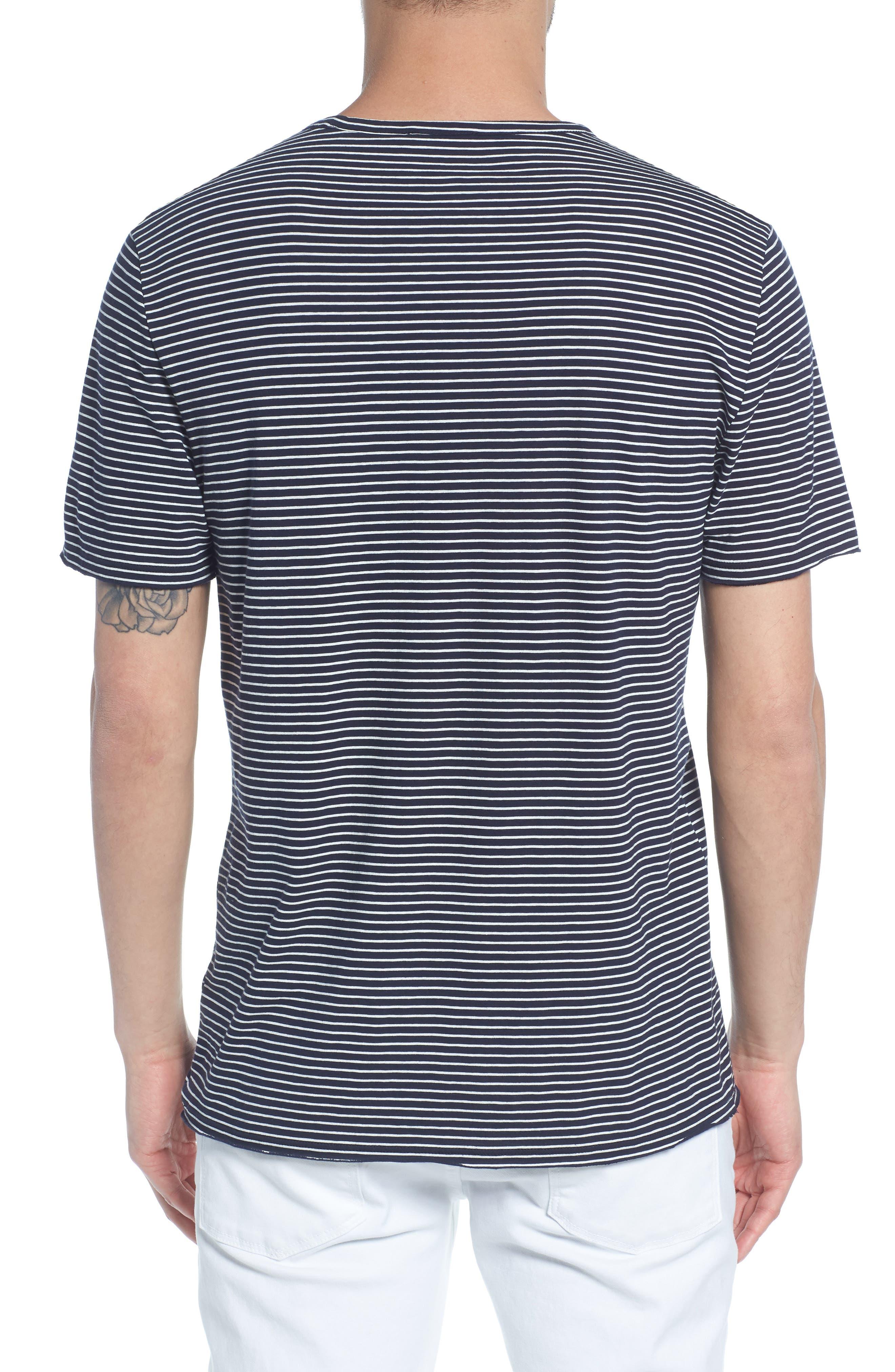 Stripe Crewneck T-Shirt,                             Alternate thumbnail 2, color,                             NEW COASTAL/ LECHE