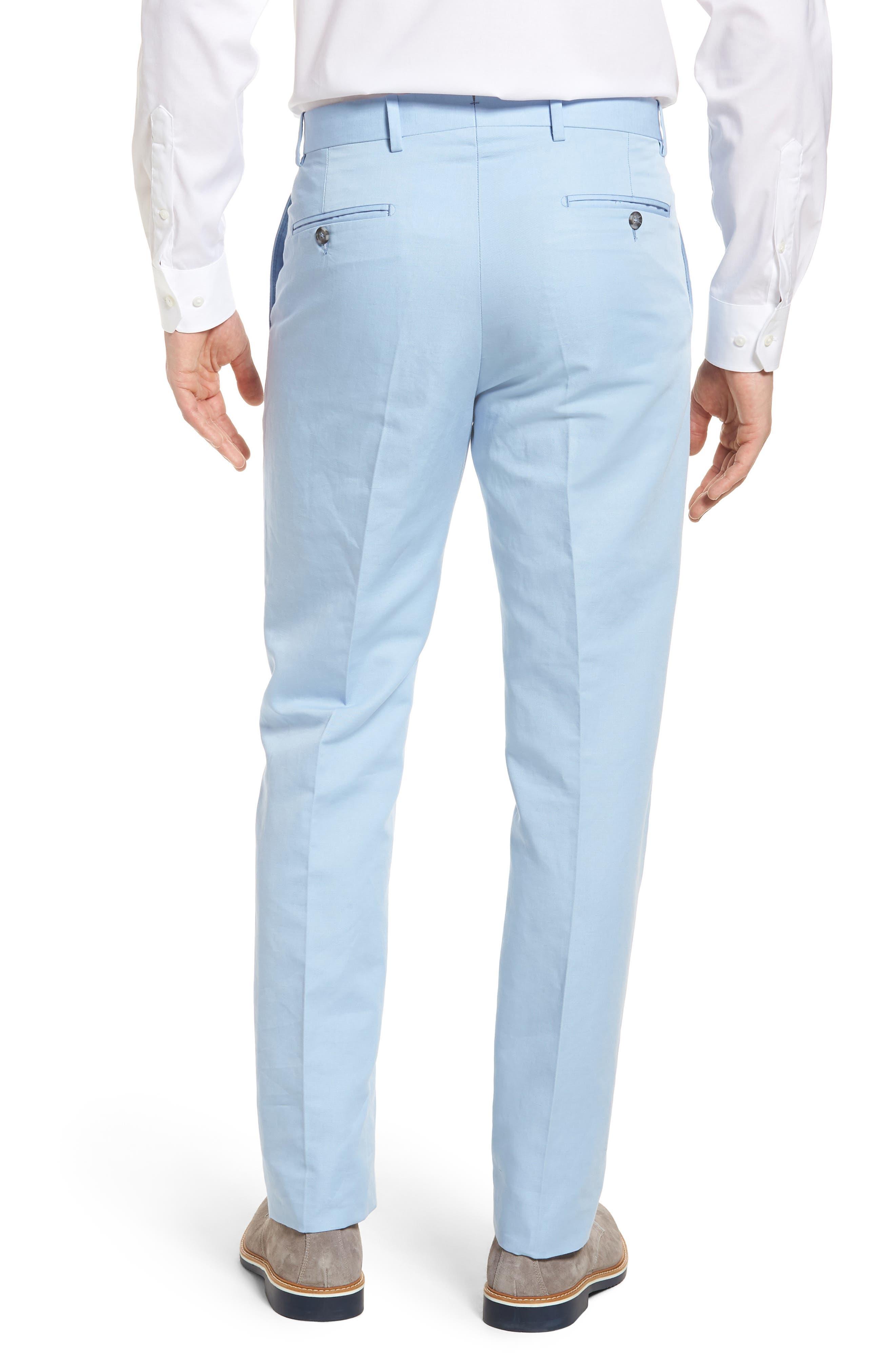Flat Front Solid Cotton & Linen Trousers,                             Alternate thumbnail 11, color,