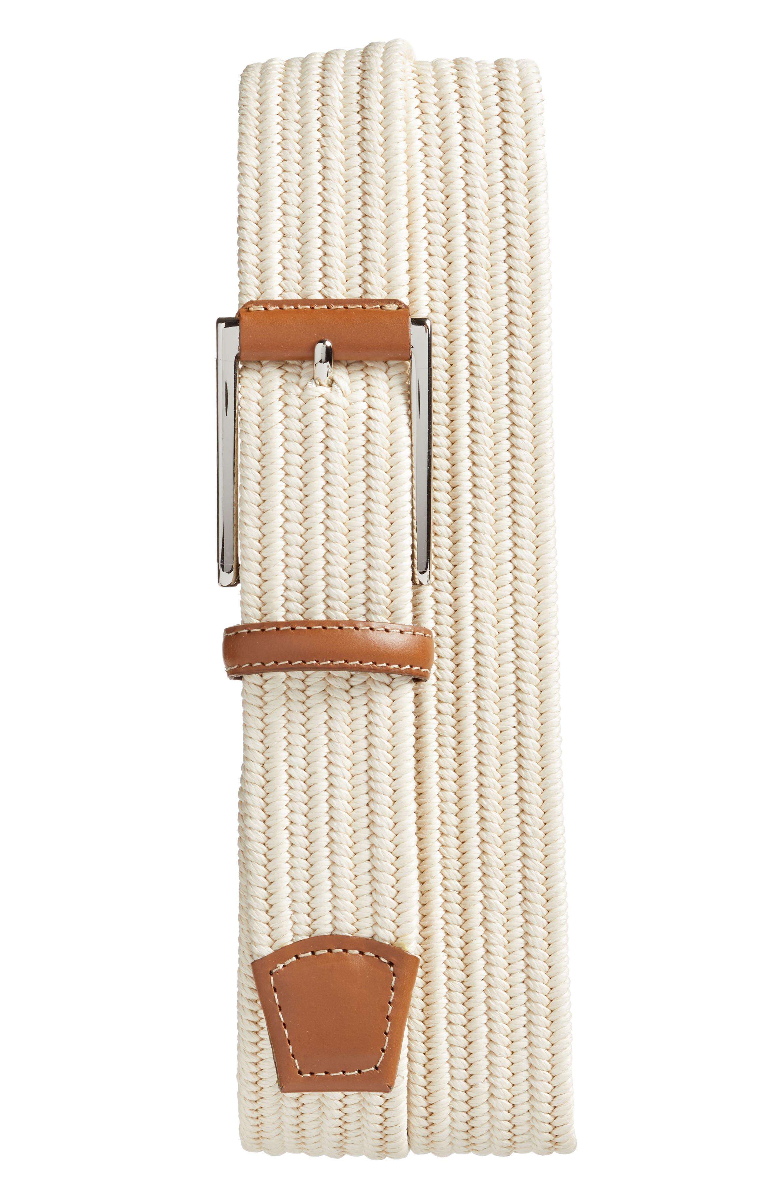 Torino Belts Woven Belt, Cream