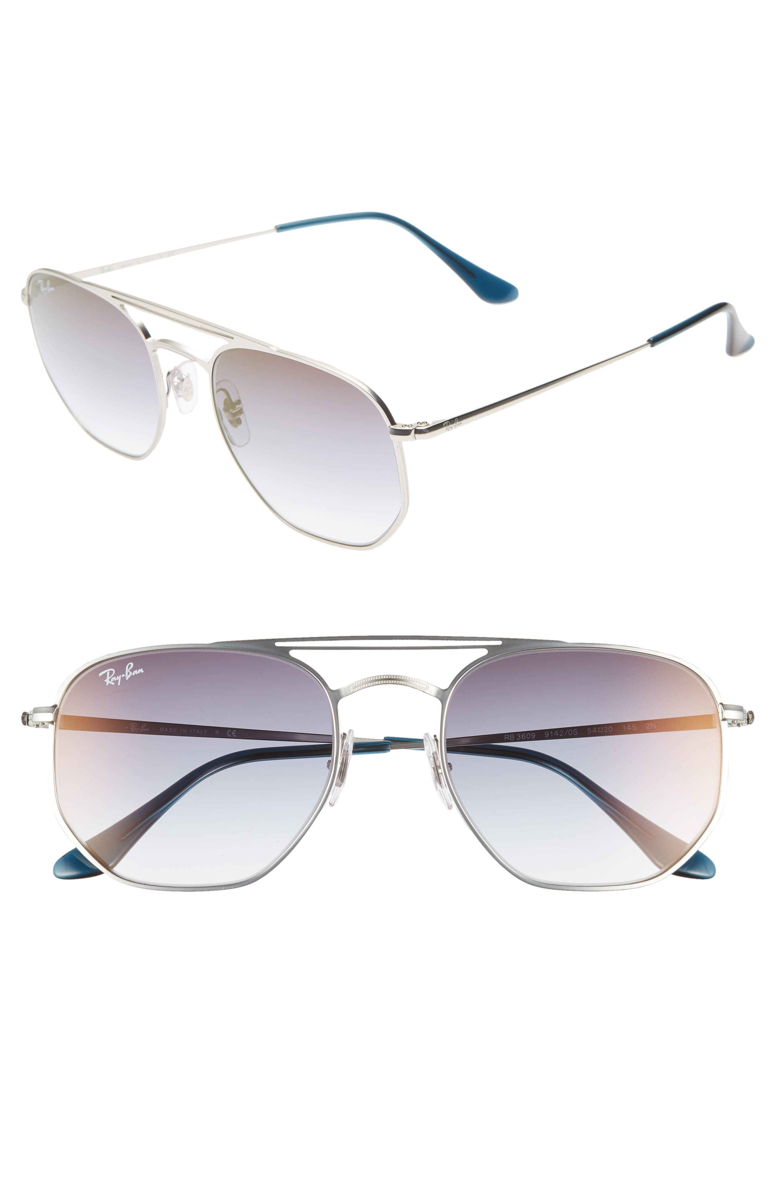 Navigator 54mm Double Bridge Sunglasses,                             Main thumbnail 1, color,                             TRANSPARENT BLUE