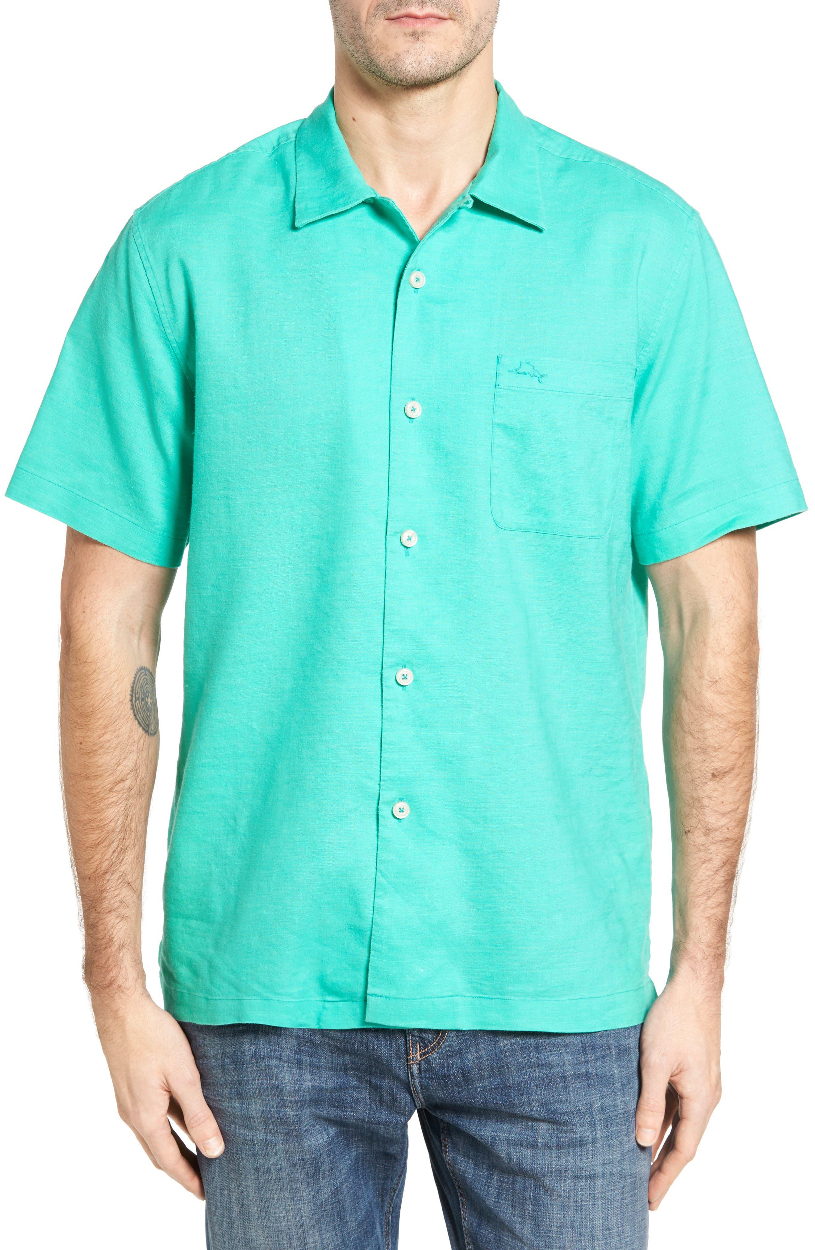 Monaco Tides Standard Fit Linen Blend Camp Shirt,                             Main thumbnail 3, color,