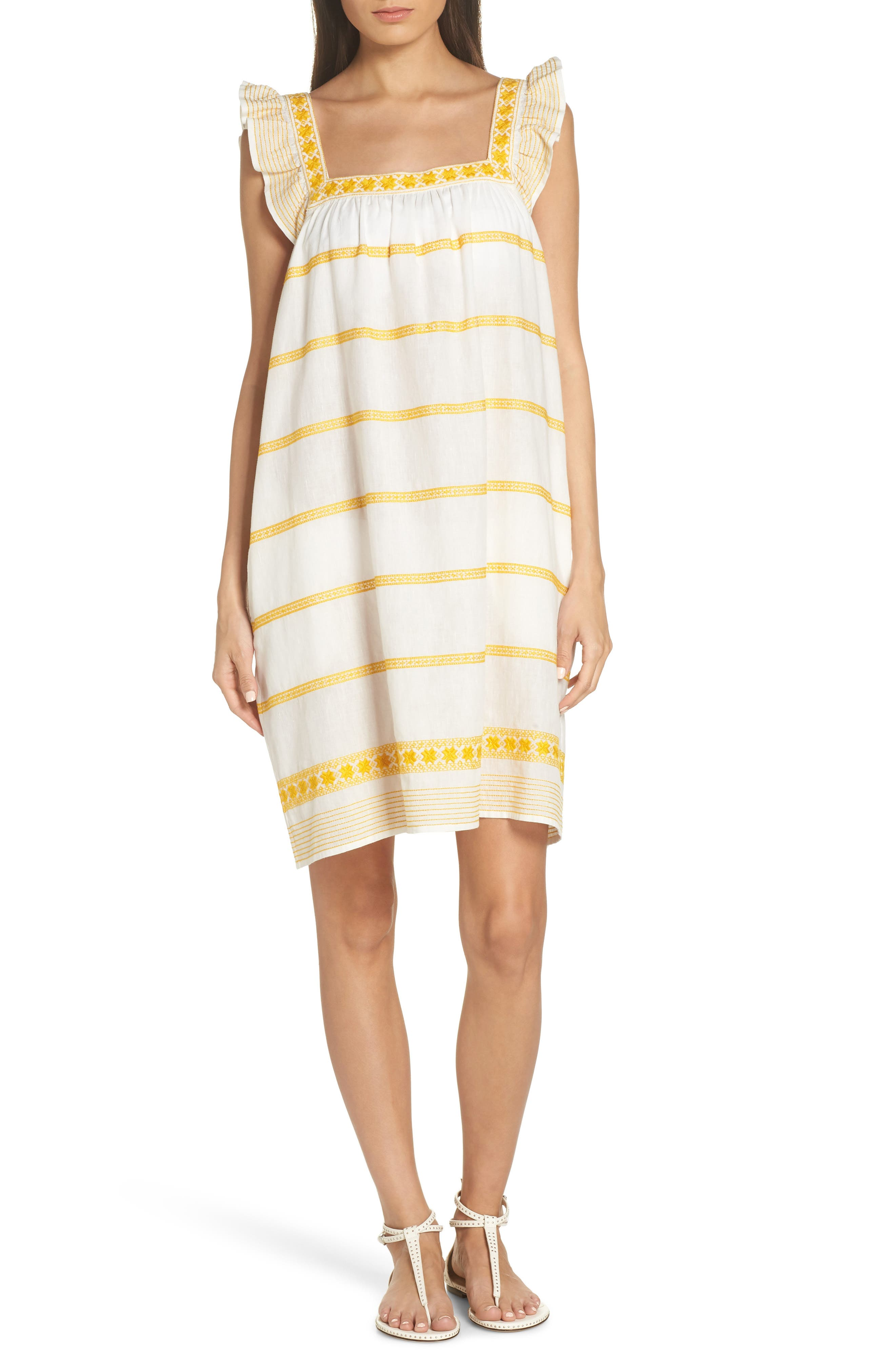 Sleeveless Striped Embroidered Sun Dress W/ Ruffle Detail in Yellow