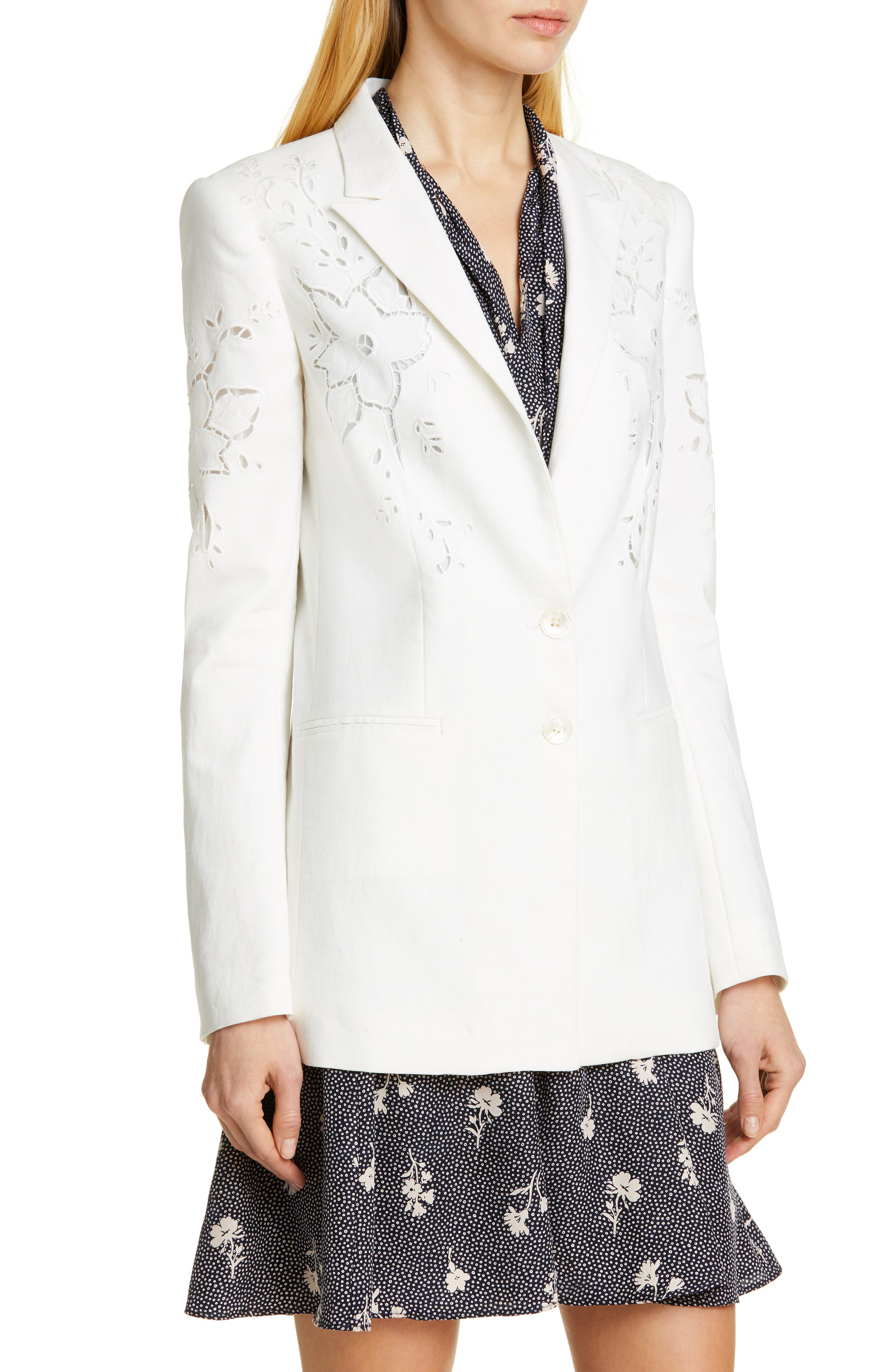 TAILORED BY REBECCA TAYLOR,                             Eyelet Embroidery Linen Blend Blazer,                             Alternate thumbnail 4, color,                             SNOW