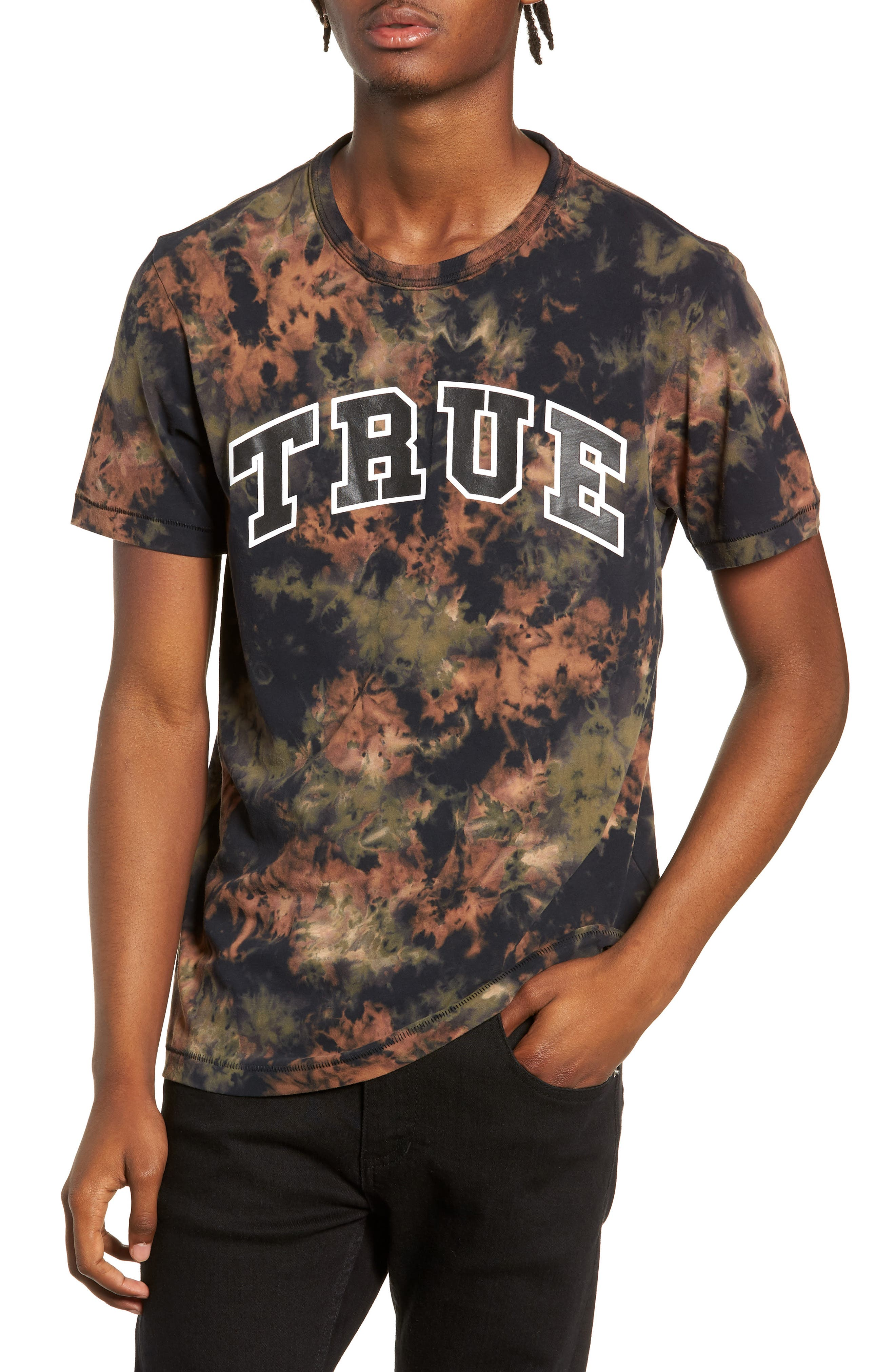 Crumple Dyed Logo T-Shirt,                             Main thumbnail 1, color,                             MILITANT GREEN TYE DYE