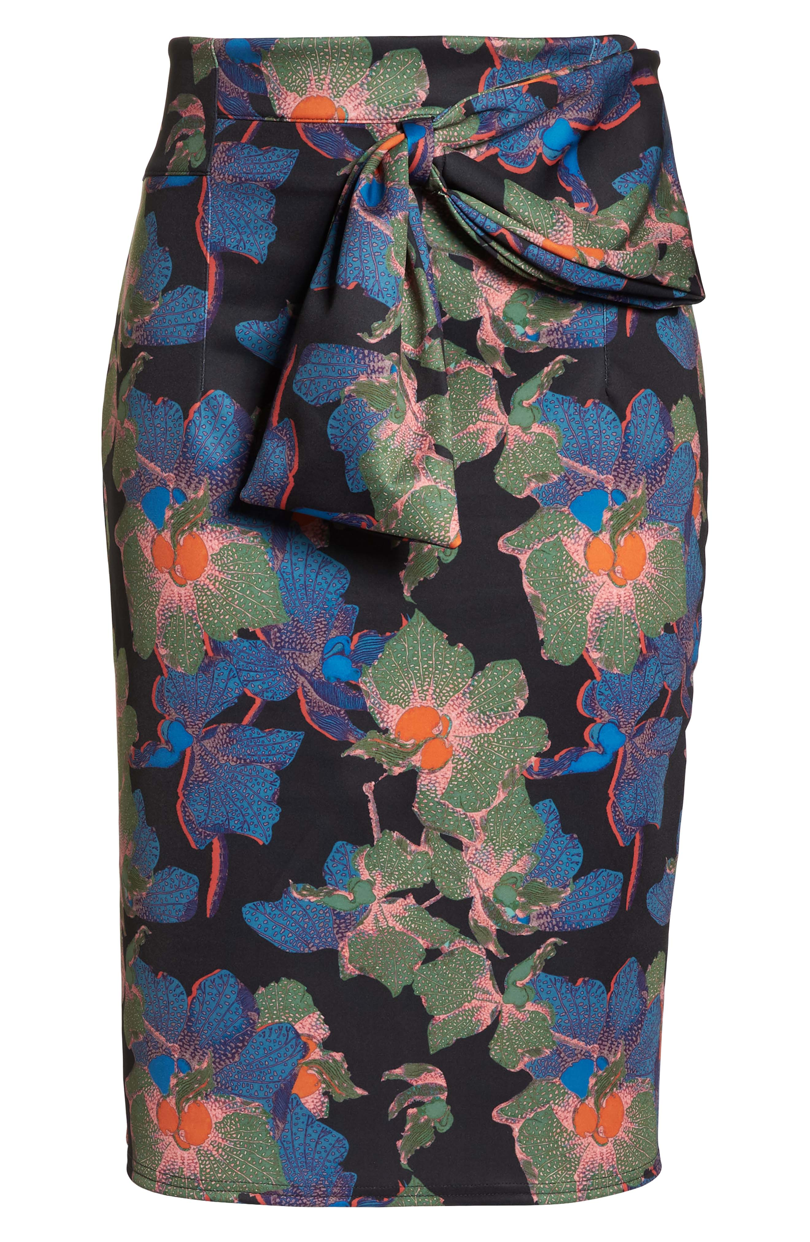 Ivy Floral Bow Detail Pencil Skirt,                             Alternate thumbnail 6, color,                             300