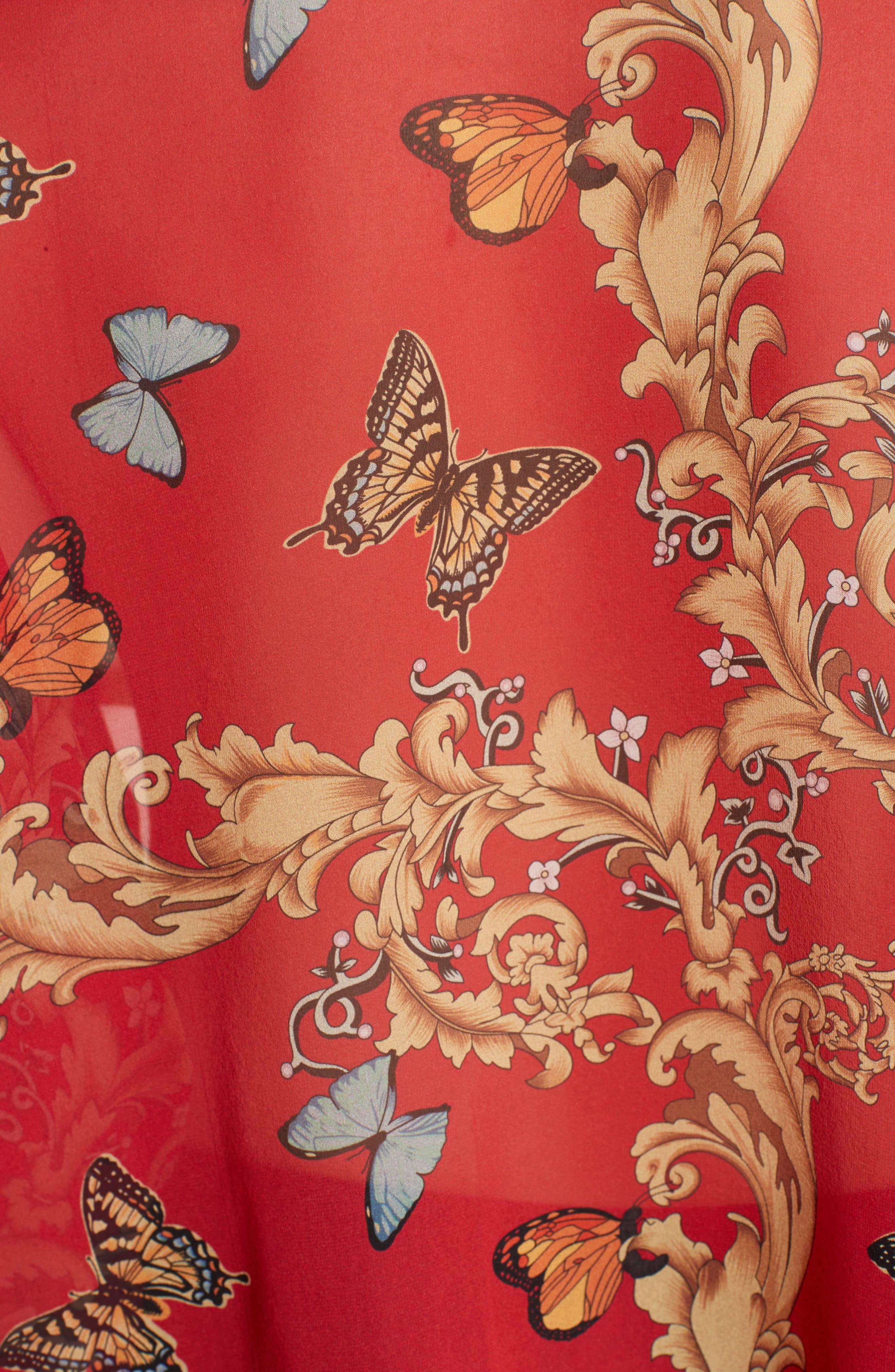 Print Ruffled Silk Shirt,                             Alternate thumbnail 5, color,                             600