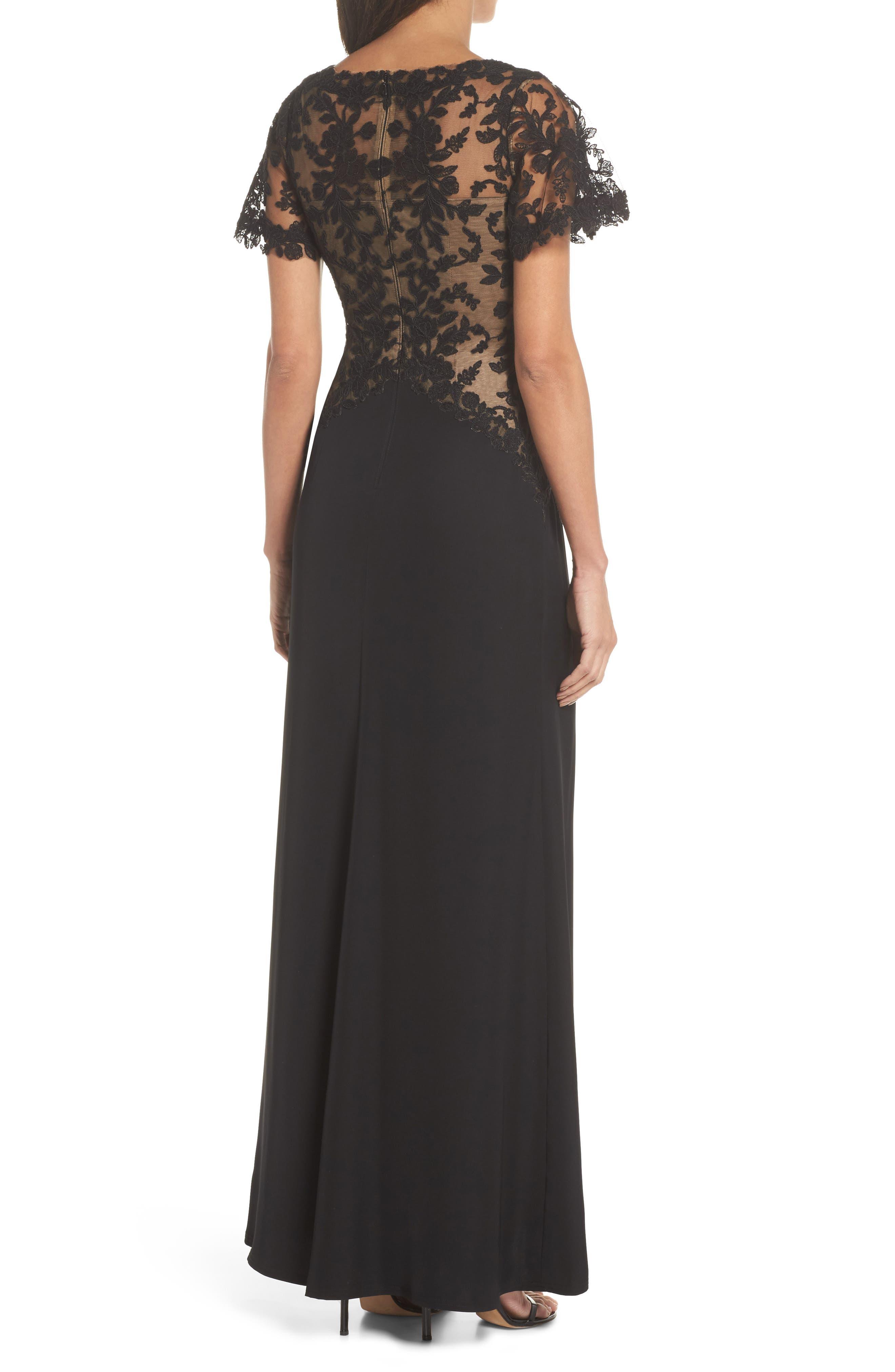Lace & Crepe Gown,                             Alternate thumbnail 2, color,                             004