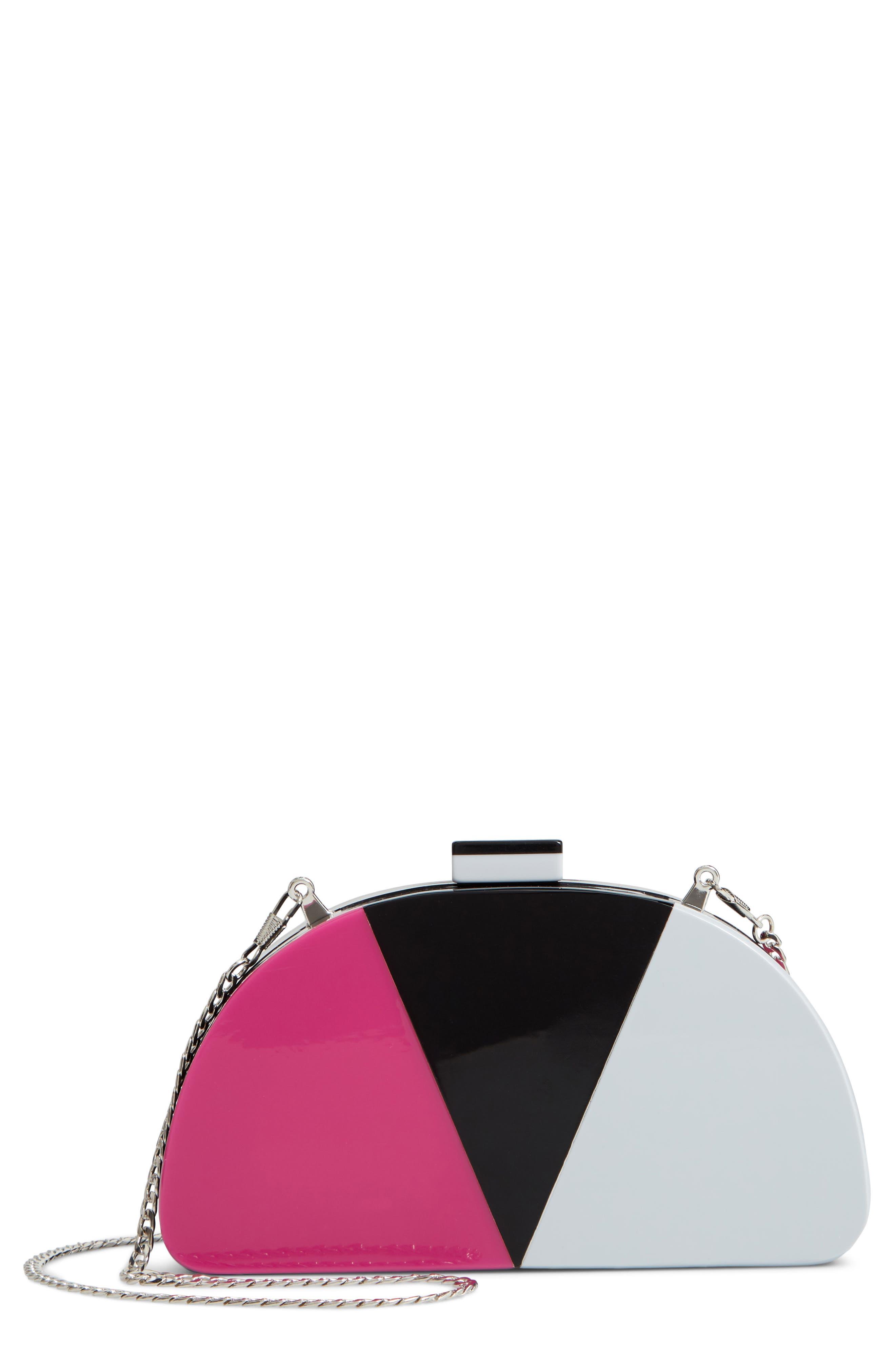 Tricolor Half Moon Clutch,                         Main,                         color, BLACK MULTI