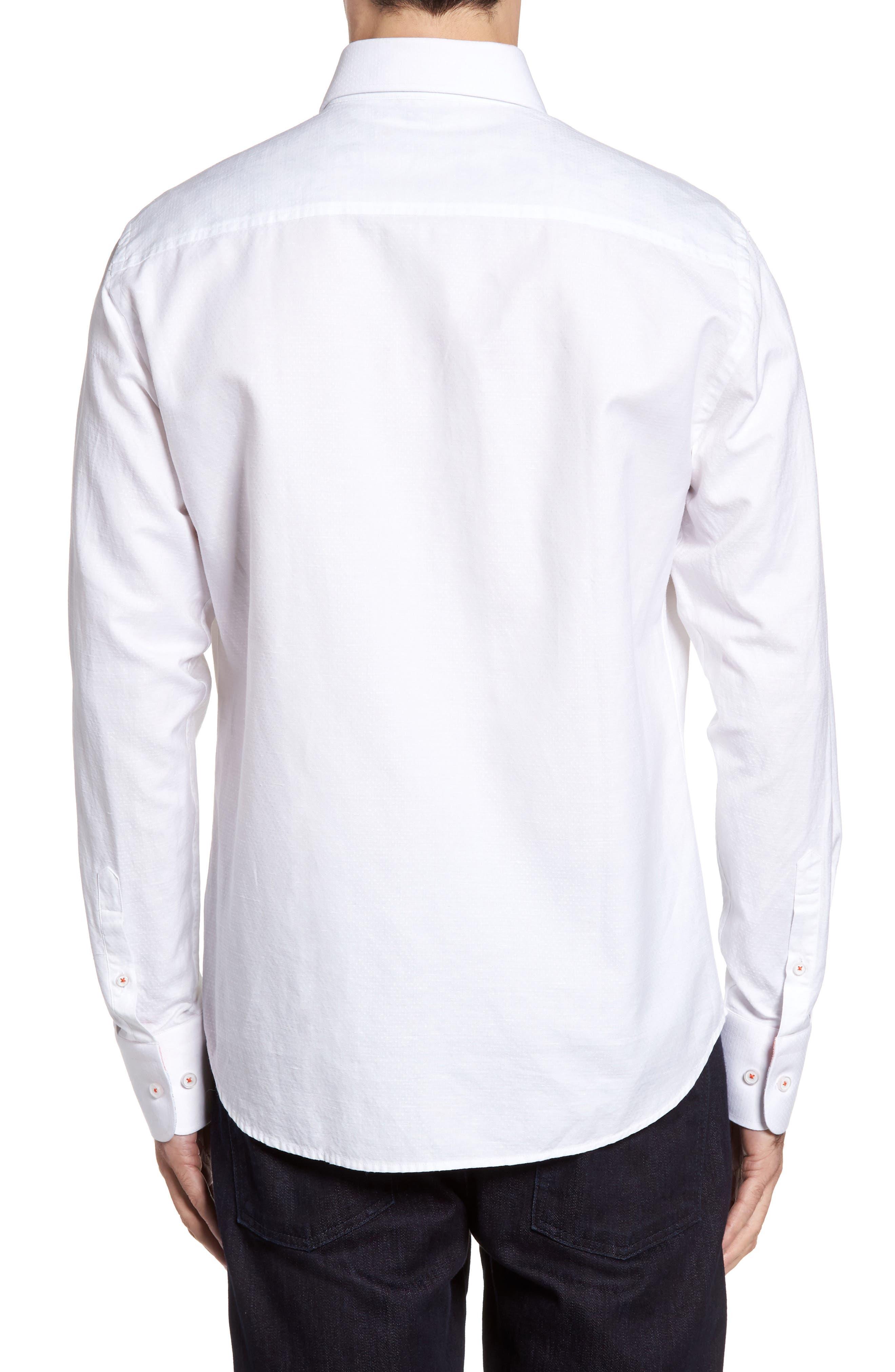 Dobby Cotton & Linen Sport Shirt,                             Alternate thumbnail 6, color,