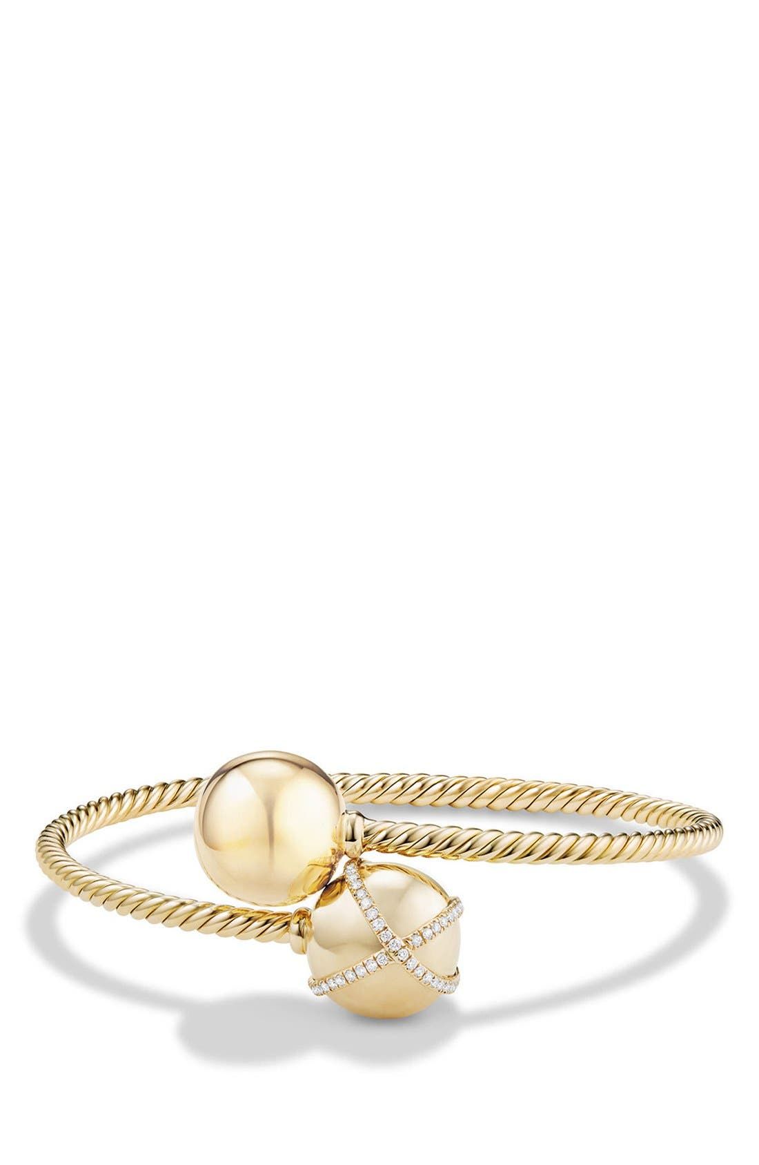 'Solari Bypass' Bracelet with Diamonds in 18K Gold,                         Main,                         color, YELLOW GOLD