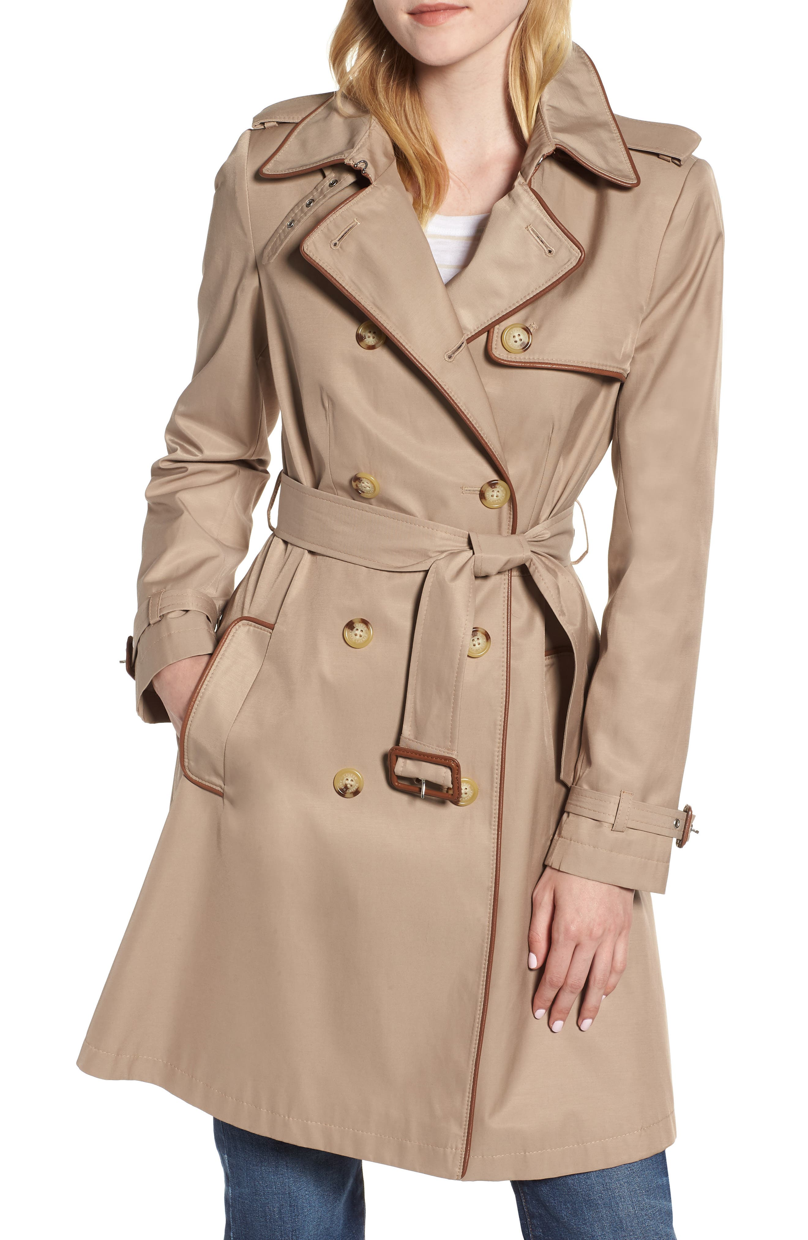 Faux Leather Trim Trench Coat,                             Main thumbnail 1, color,                             262