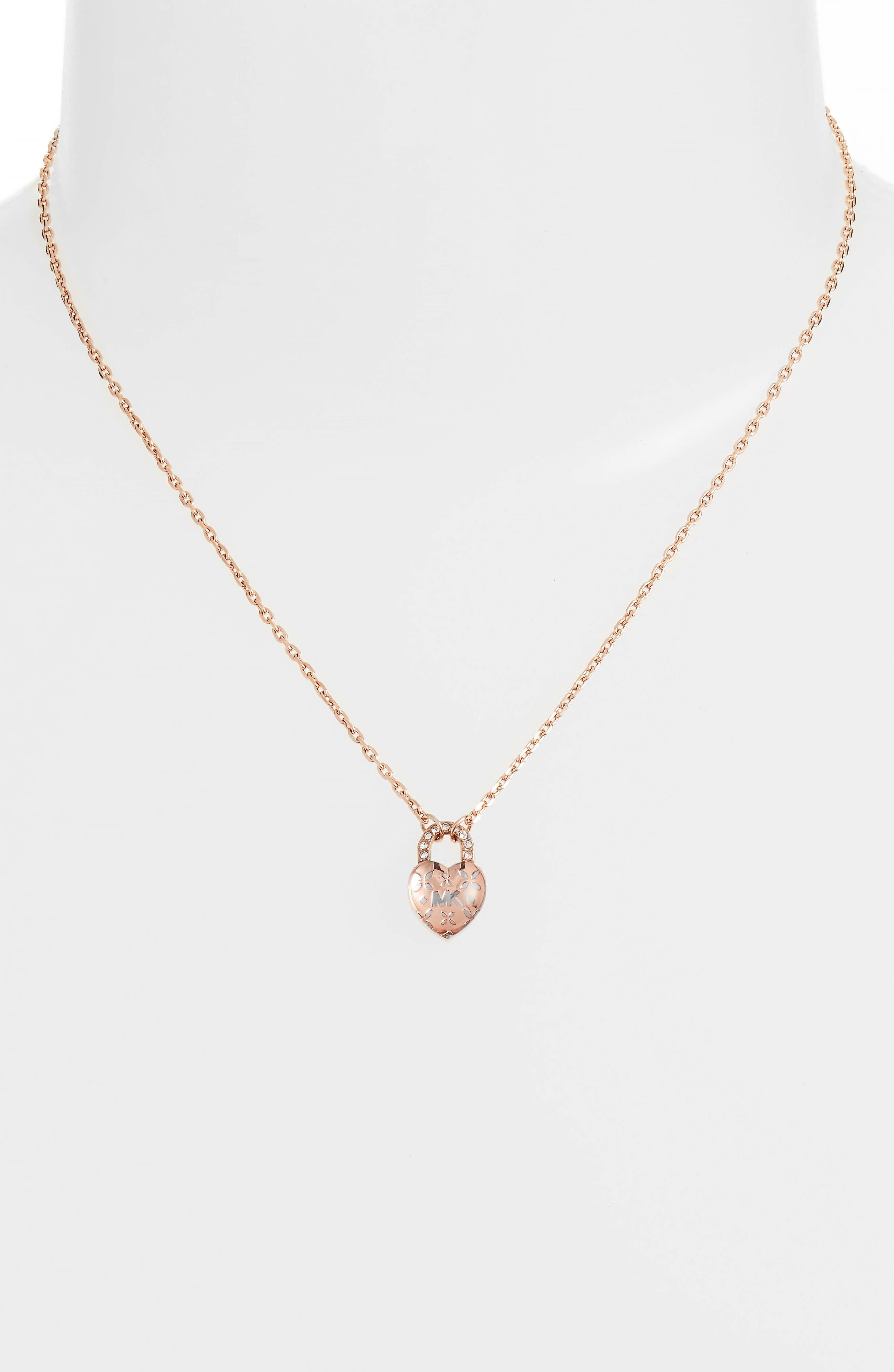 Heart Padlock Pendant Necklace,                             Alternate thumbnail 2, color,                             650