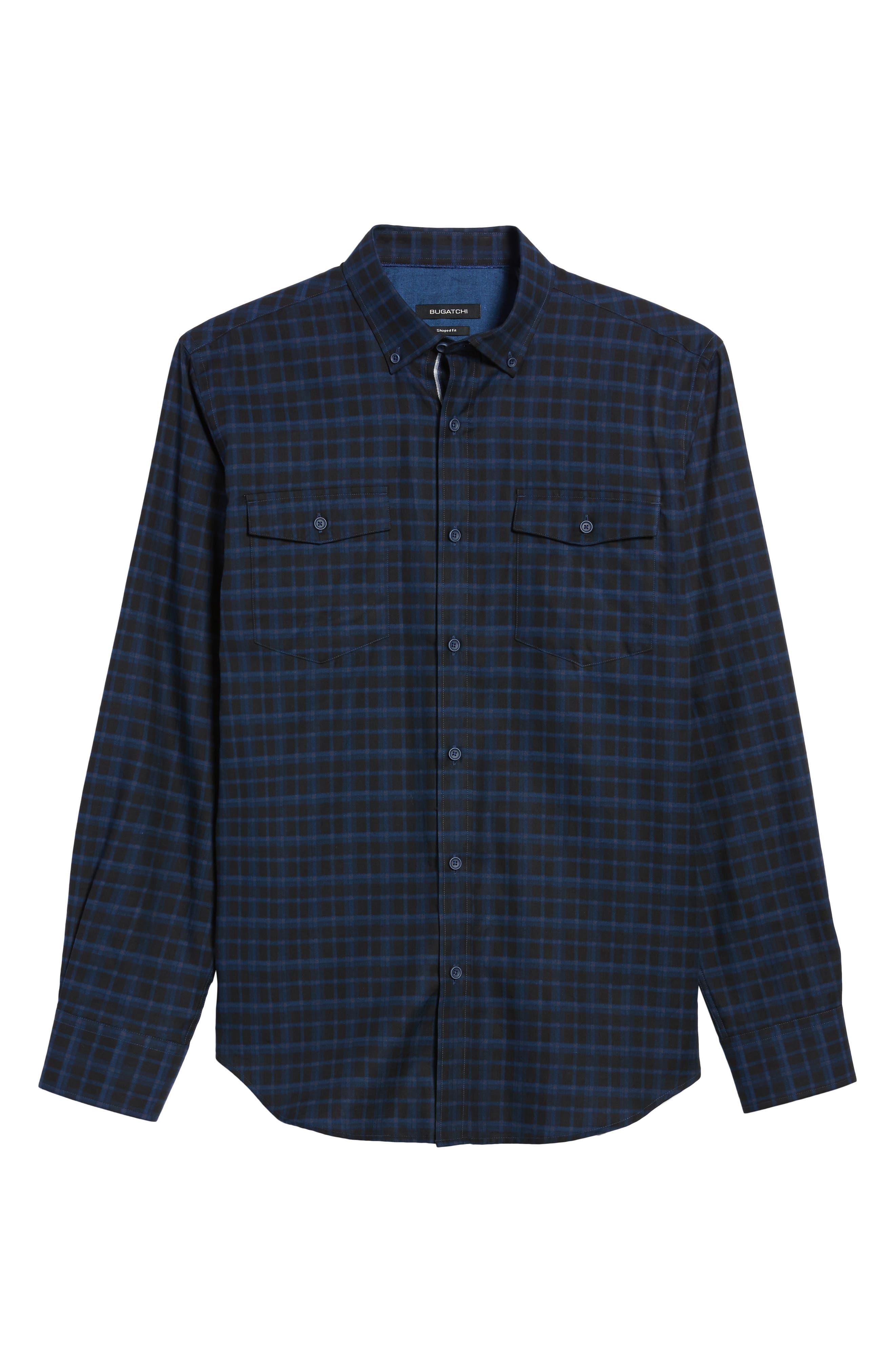 Shaped Fit Plaid Sport Shirt,                             Alternate thumbnail 6, color,                             410