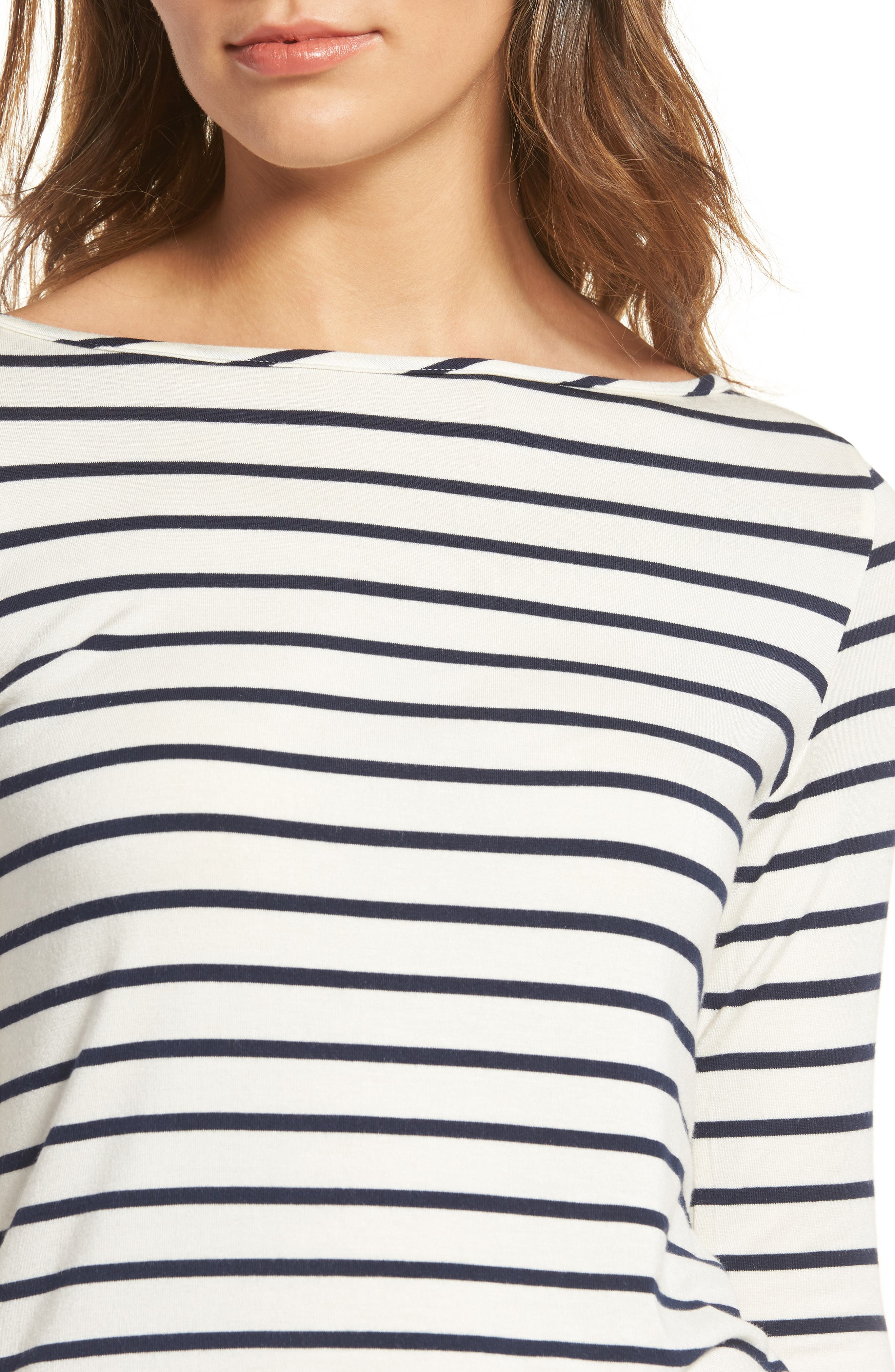Francoise Stretch Jersey Top,                             Alternate thumbnail 4, color,                             MARINE STRIPE