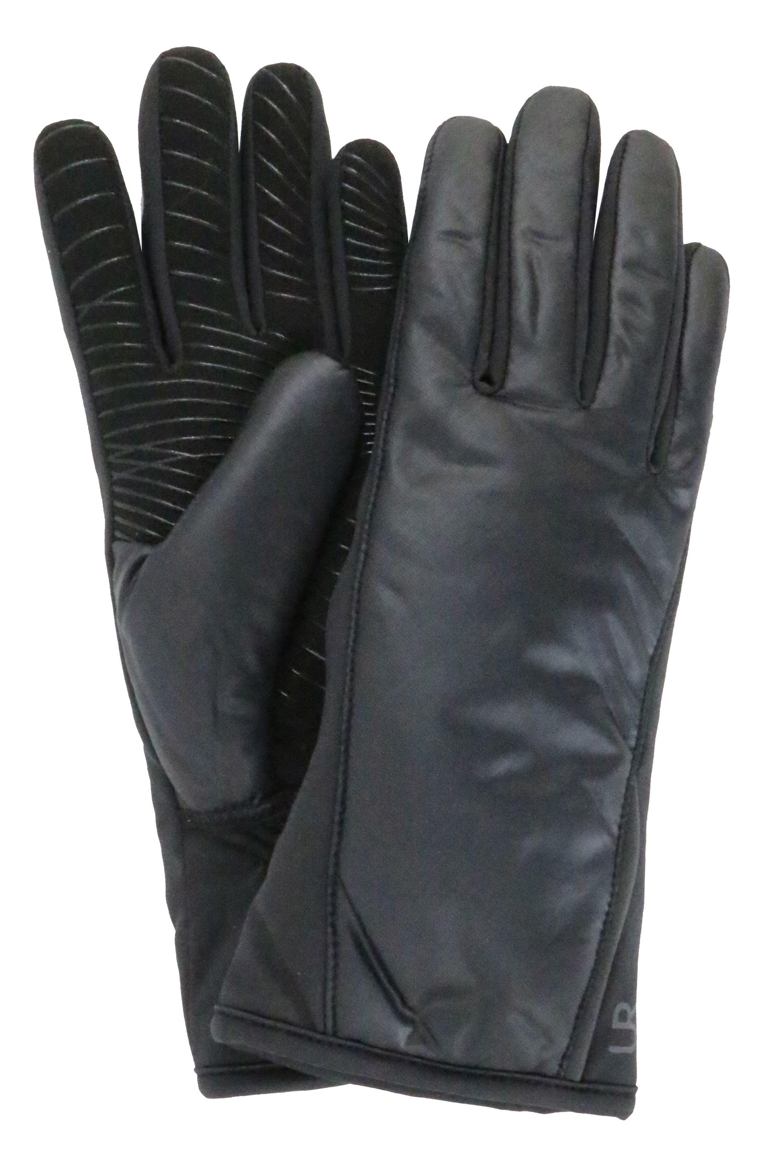 Tech Faux Fur Lined Heat Pack Gloves,                             Main thumbnail 1, color,                             BLACK