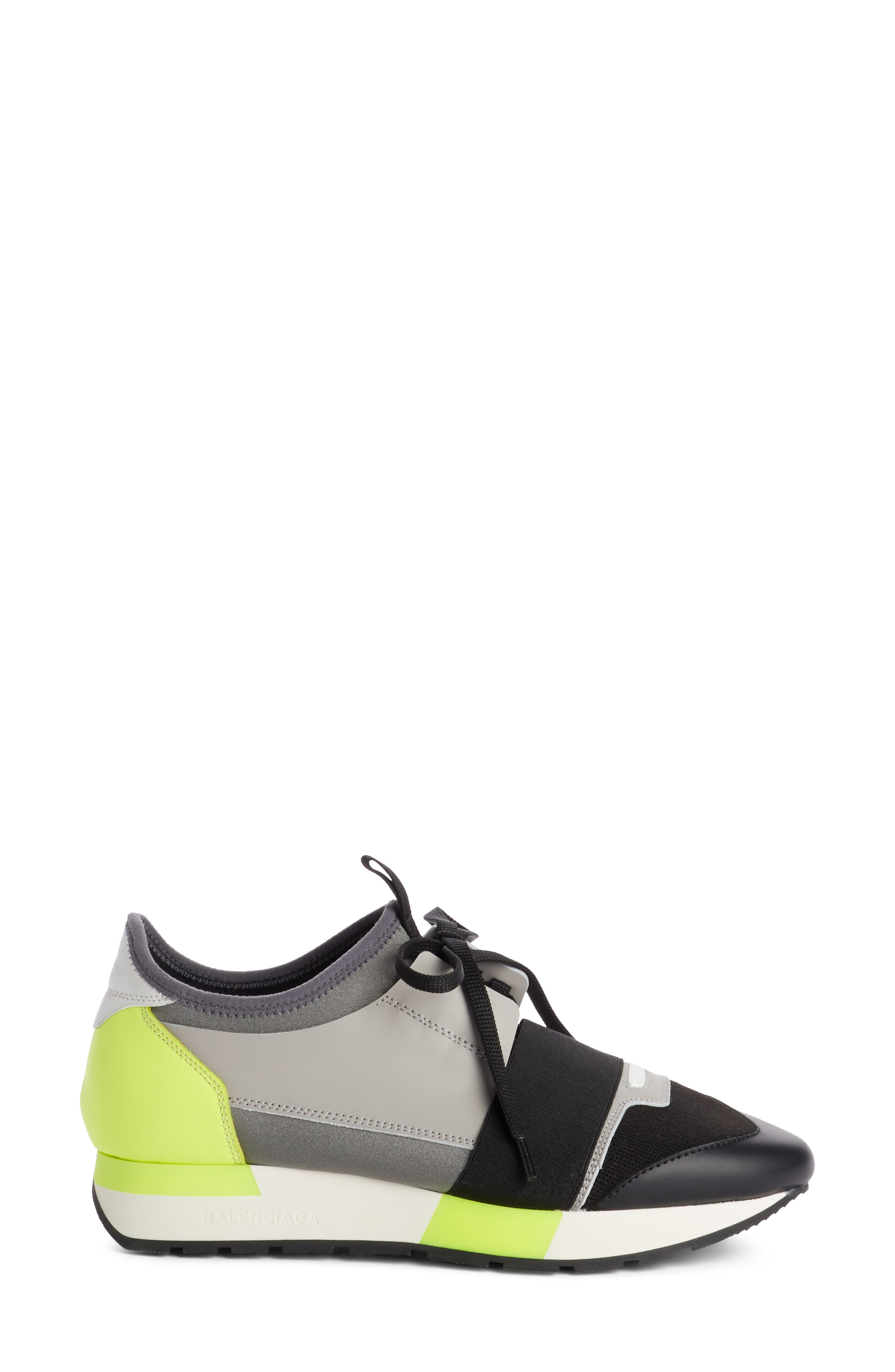 Lace-Up Sneaker,                             Alternate thumbnail 3, color,                             BLACK/ GREY/ YELLOW