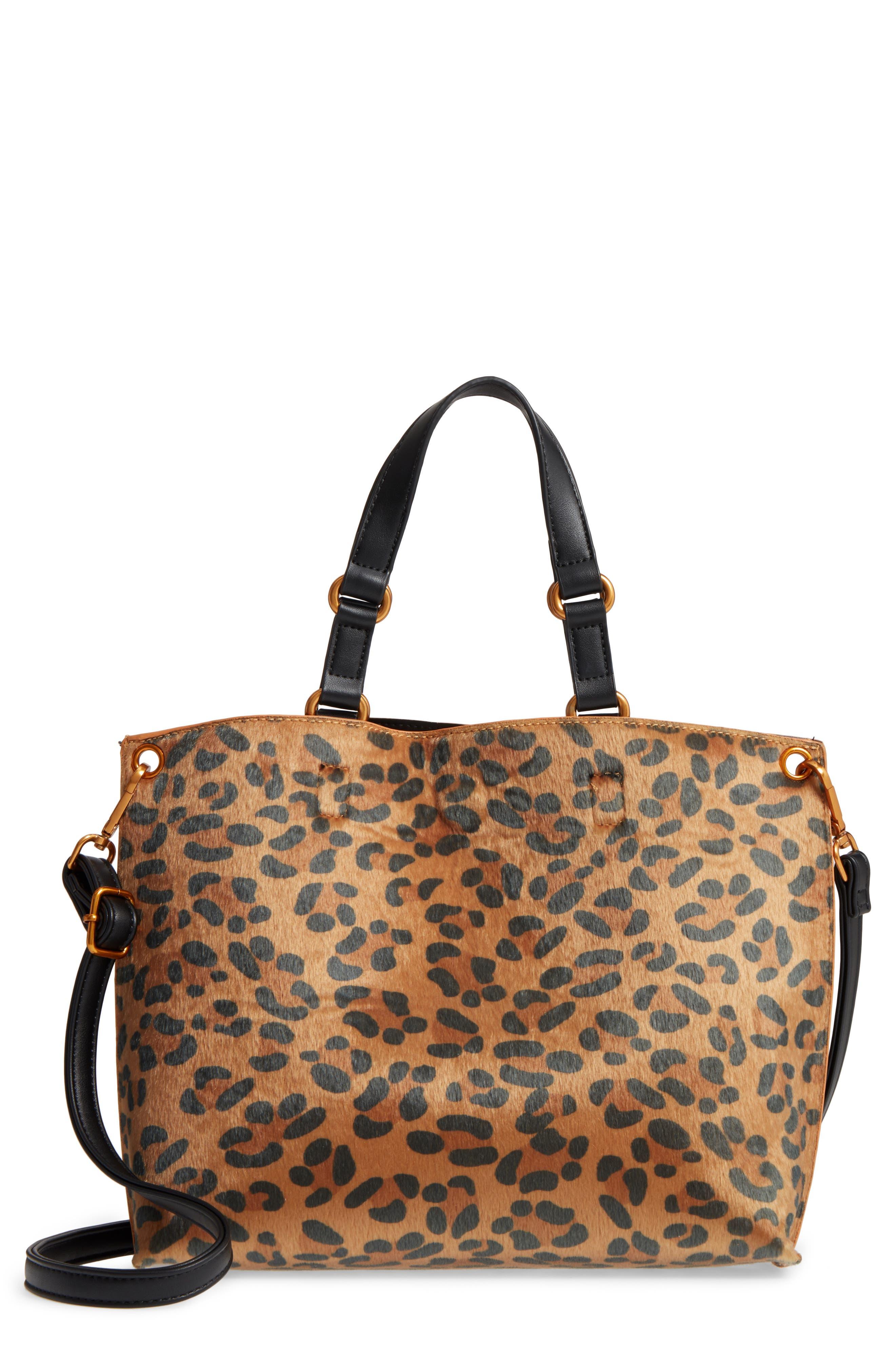 Leopard Print Faux Calf Hair Tote,                         Main,                         color, 201