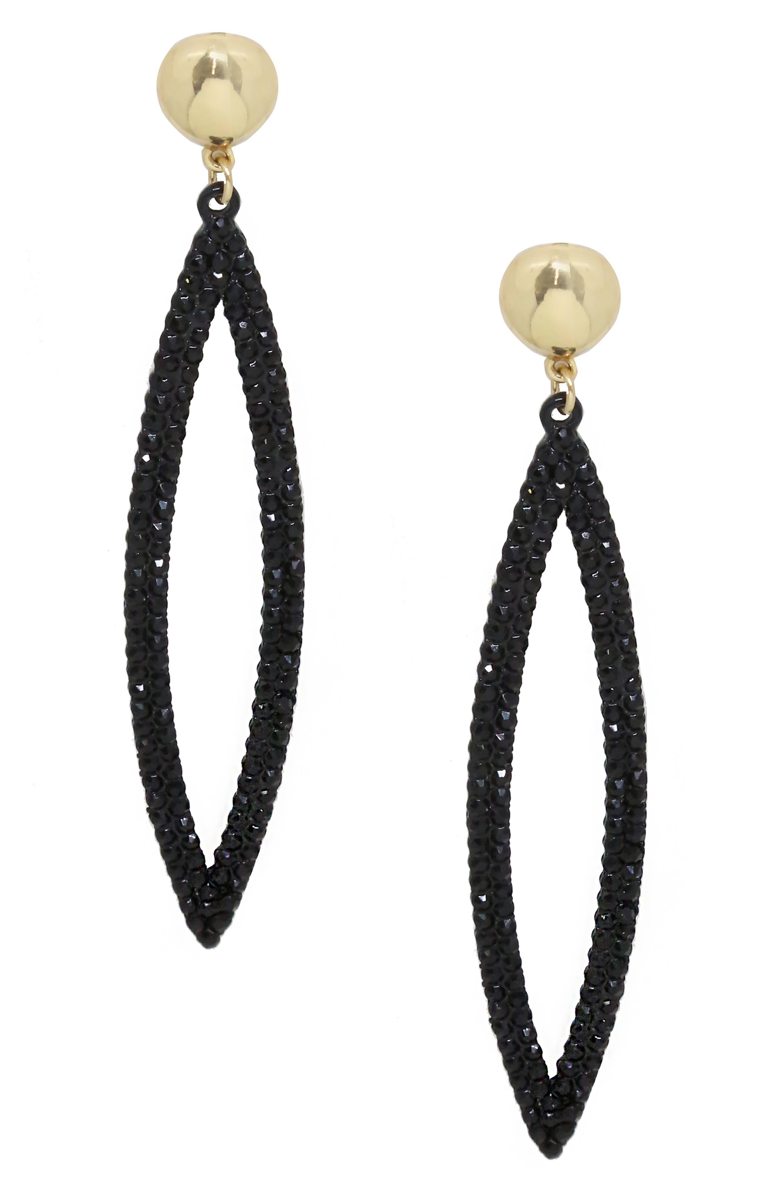 ETTIKA Crystal Drop Earrings in Black