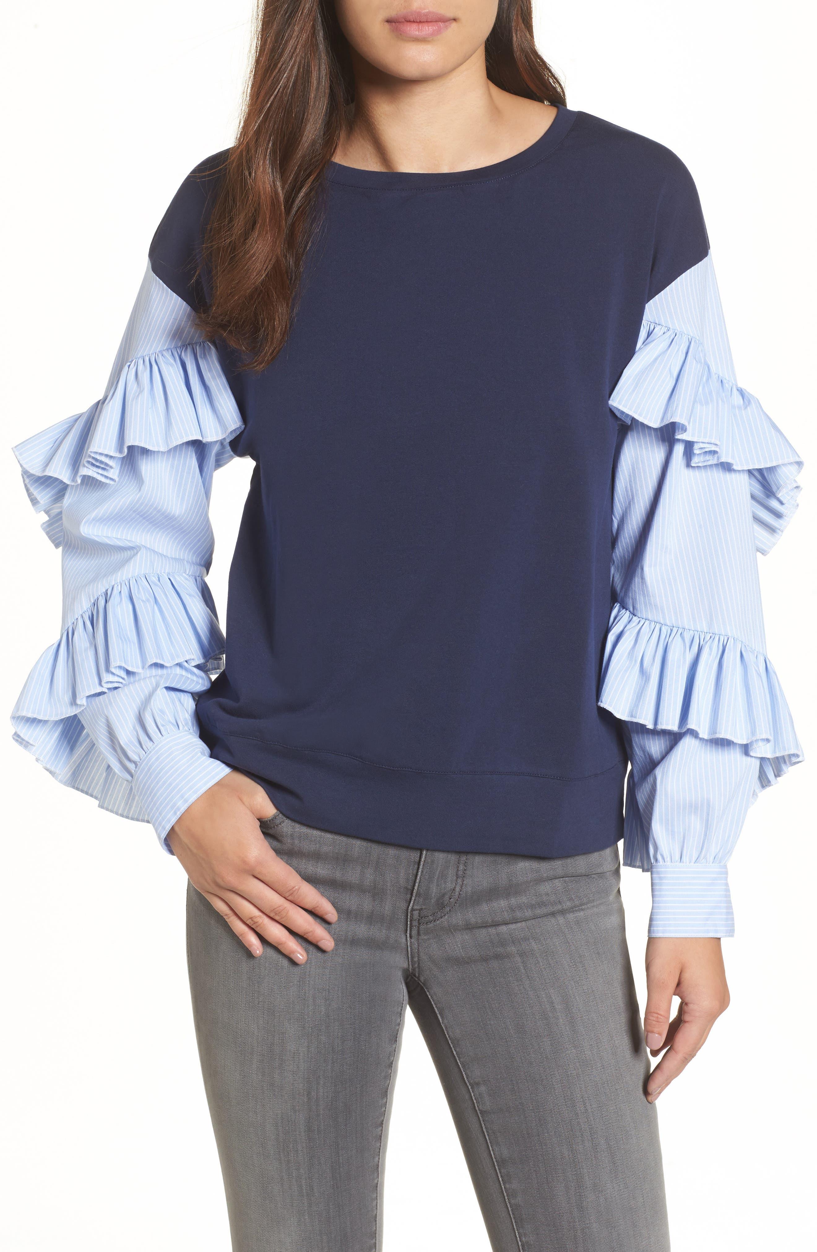 Poplin Ruffle Sleeve Sweatshirt,                             Main thumbnail 3, color,