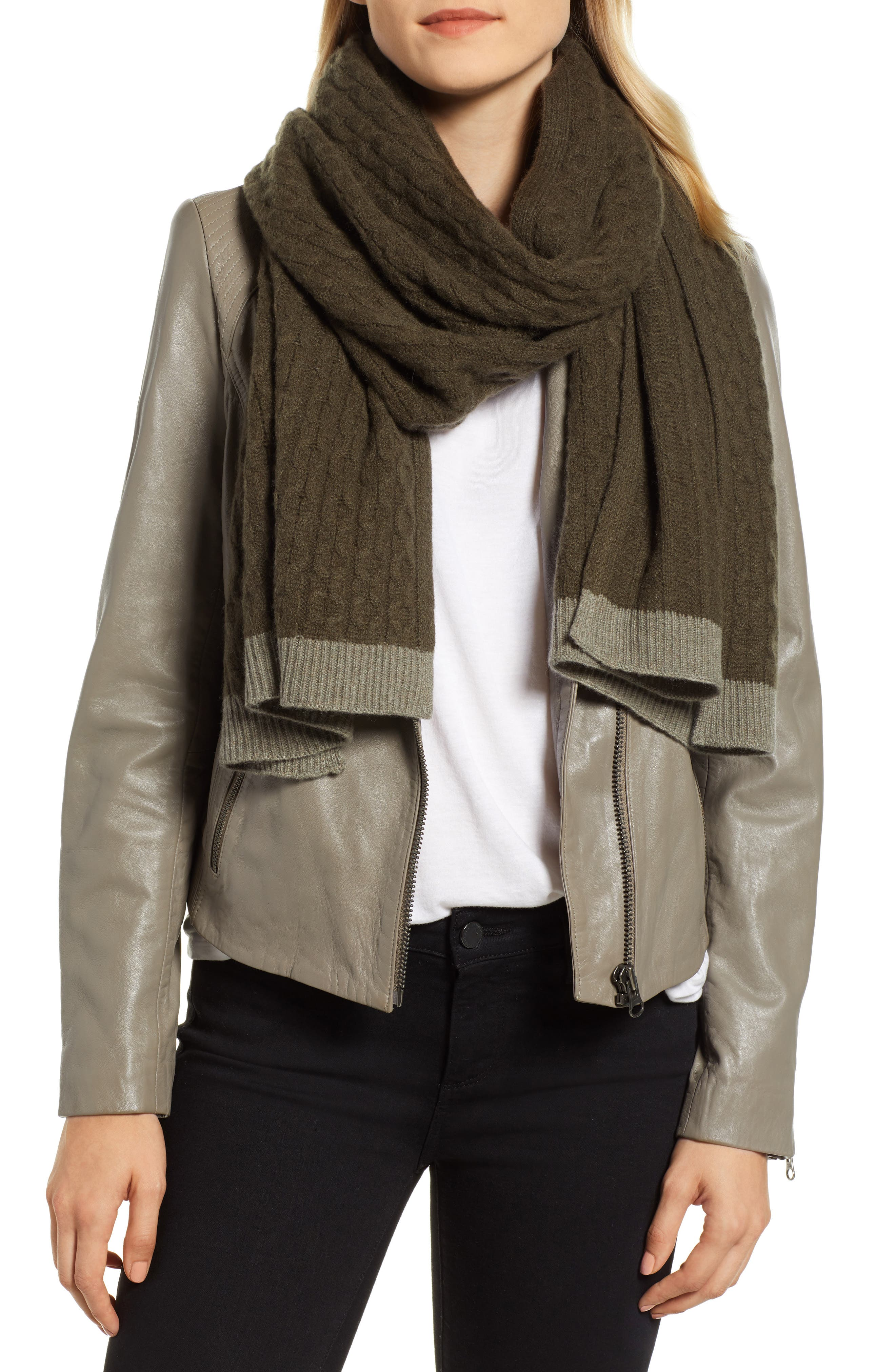 Cable Knit Cashmere Scarf,                         Main,                         color, OLIVE COMBO