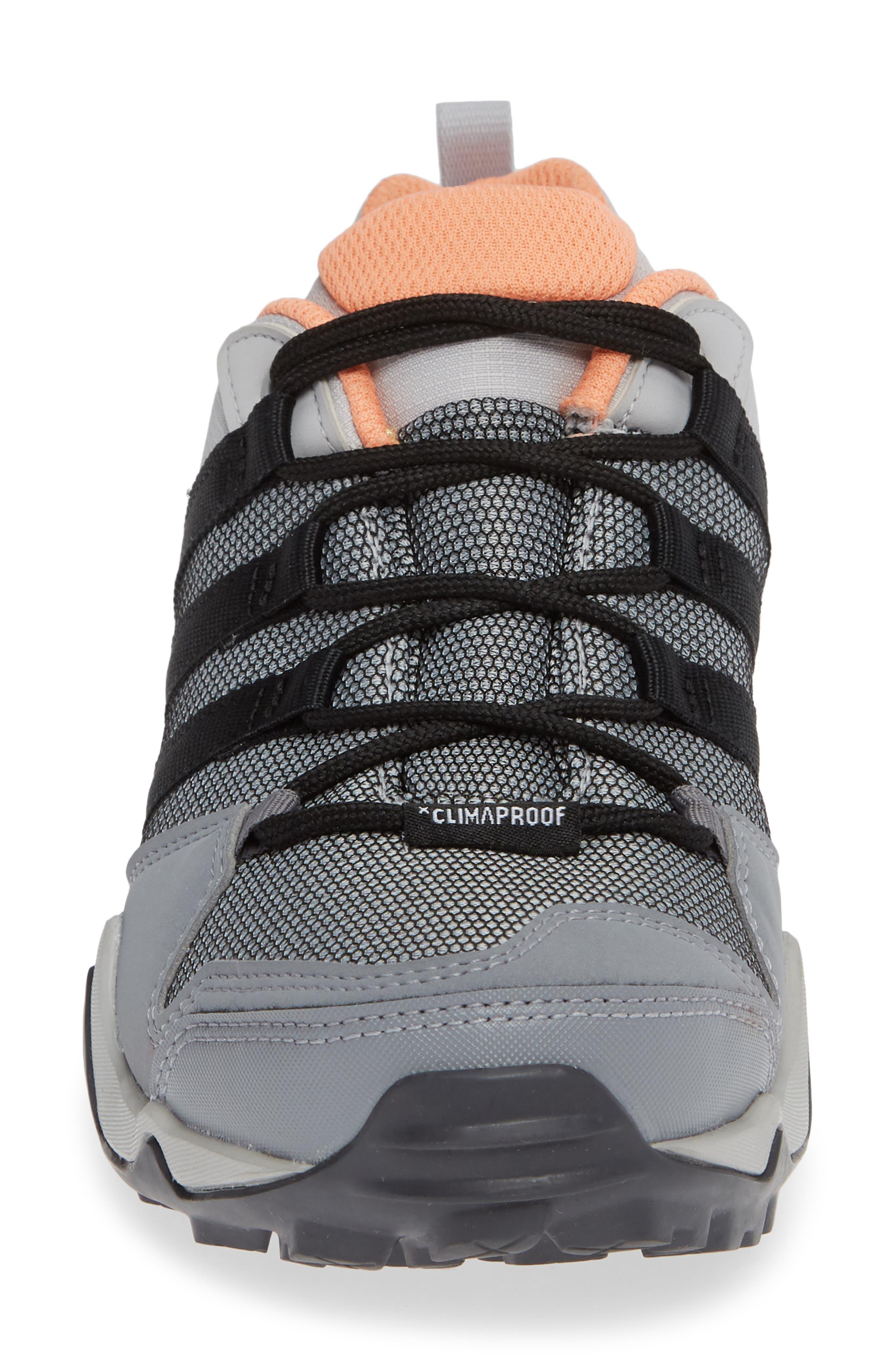 Terrex AX2 CLIMAPROOF<sup>®</sup> Hiking Shoe,                             Alternate thumbnail 4, color,                             GREY/ BLACK/ CHALK CORAL