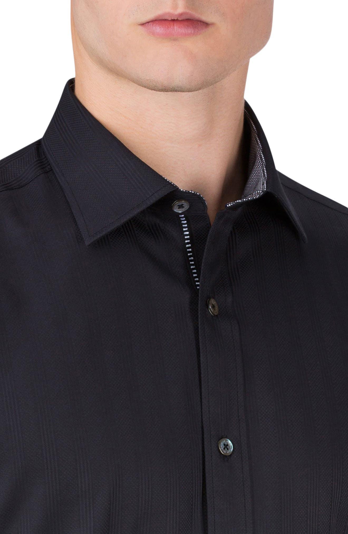 Classic Fit Stripe Jacquard Sport Shirt,                             Alternate thumbnail 3, color,                             001