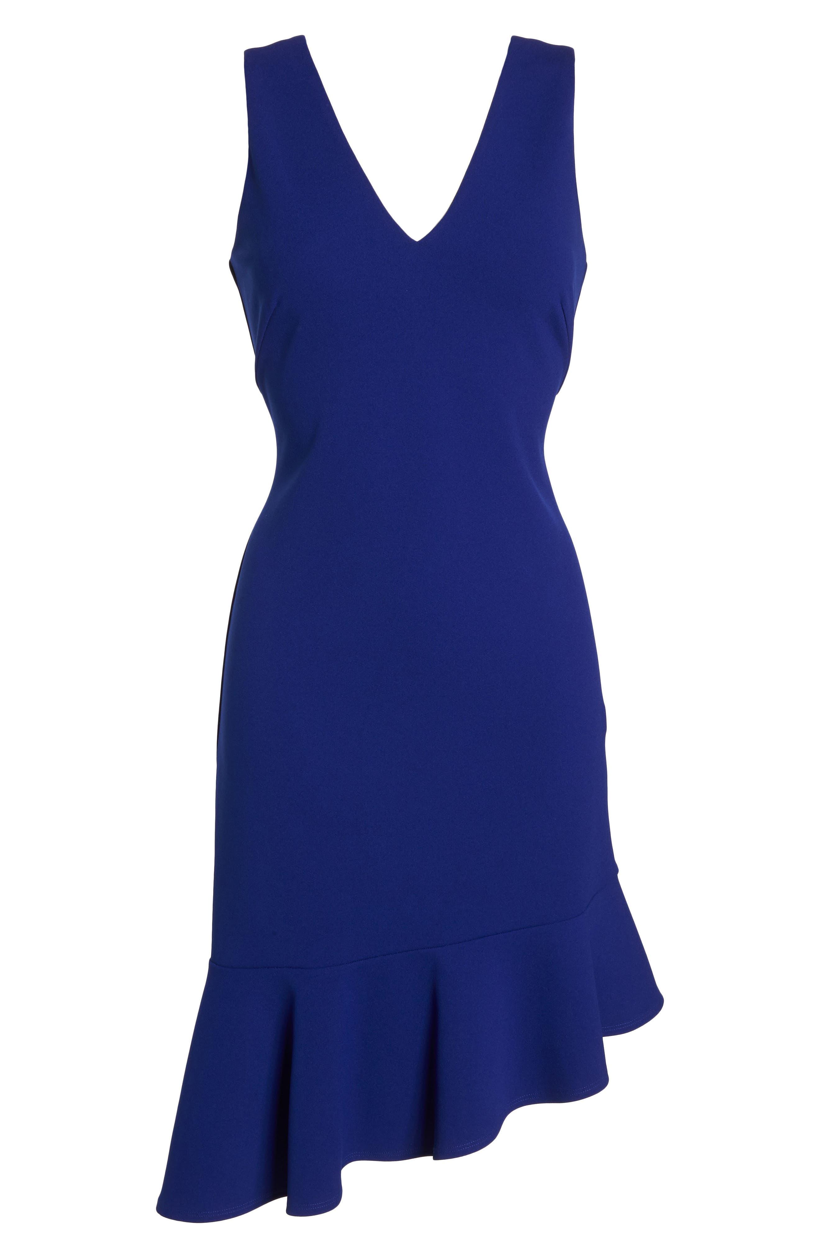VINCE CAMUTO,                             Asymmetrical Ruffle Hem Scuba Crepe Dress,                             Alternate thumbnail 7, color,                             430